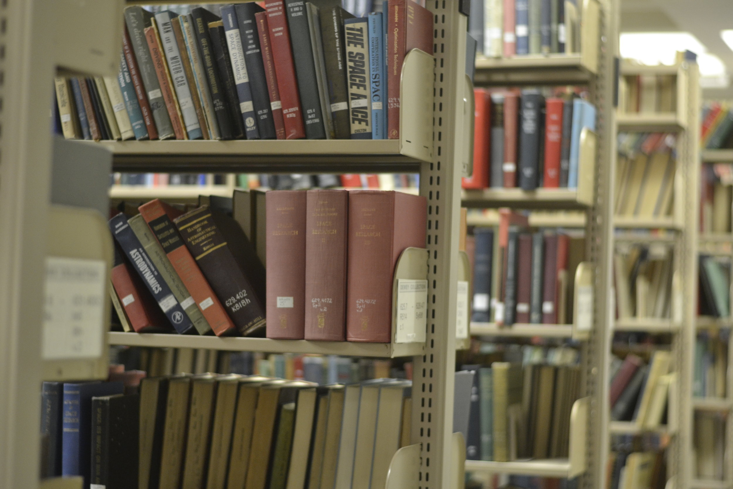 Bookshelves in the Homer Babbidge Library. (file photo by rebecca newman/The Daily Campus)