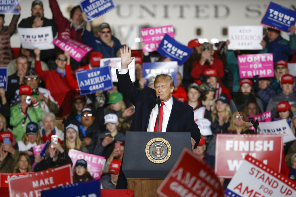 President Donald Trump speaks during a rally Wednesday, Oct. 24, 2018, in Mosinee, Wis. (AP Photo/Mike Roemer)