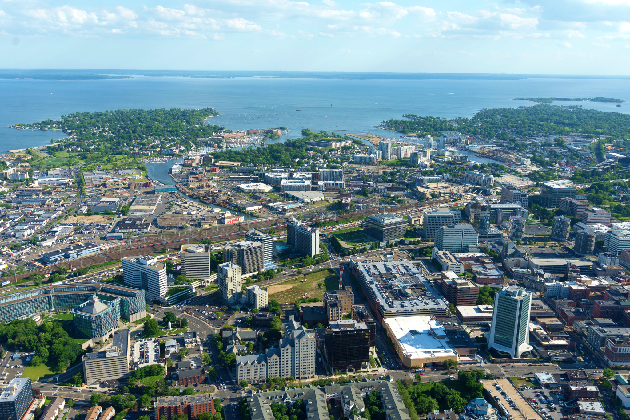 An aerial view of Stamford, Connecticut. (Photo by  John9474 /Wikimedia Commons)
