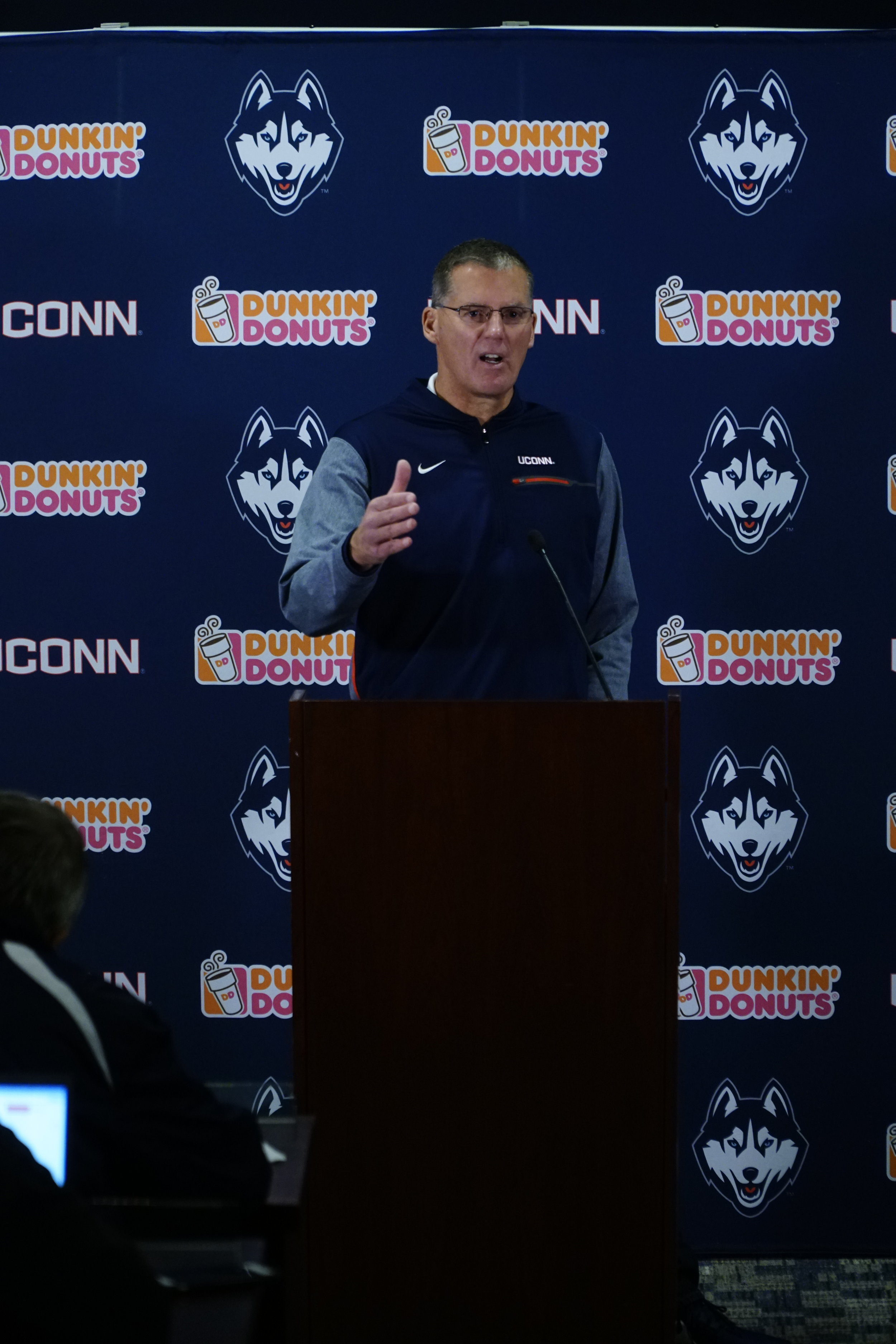 Coach Randy takes a passionate defense for his players and the UConn Football program. (Eric Wang/ The Daily Campus)