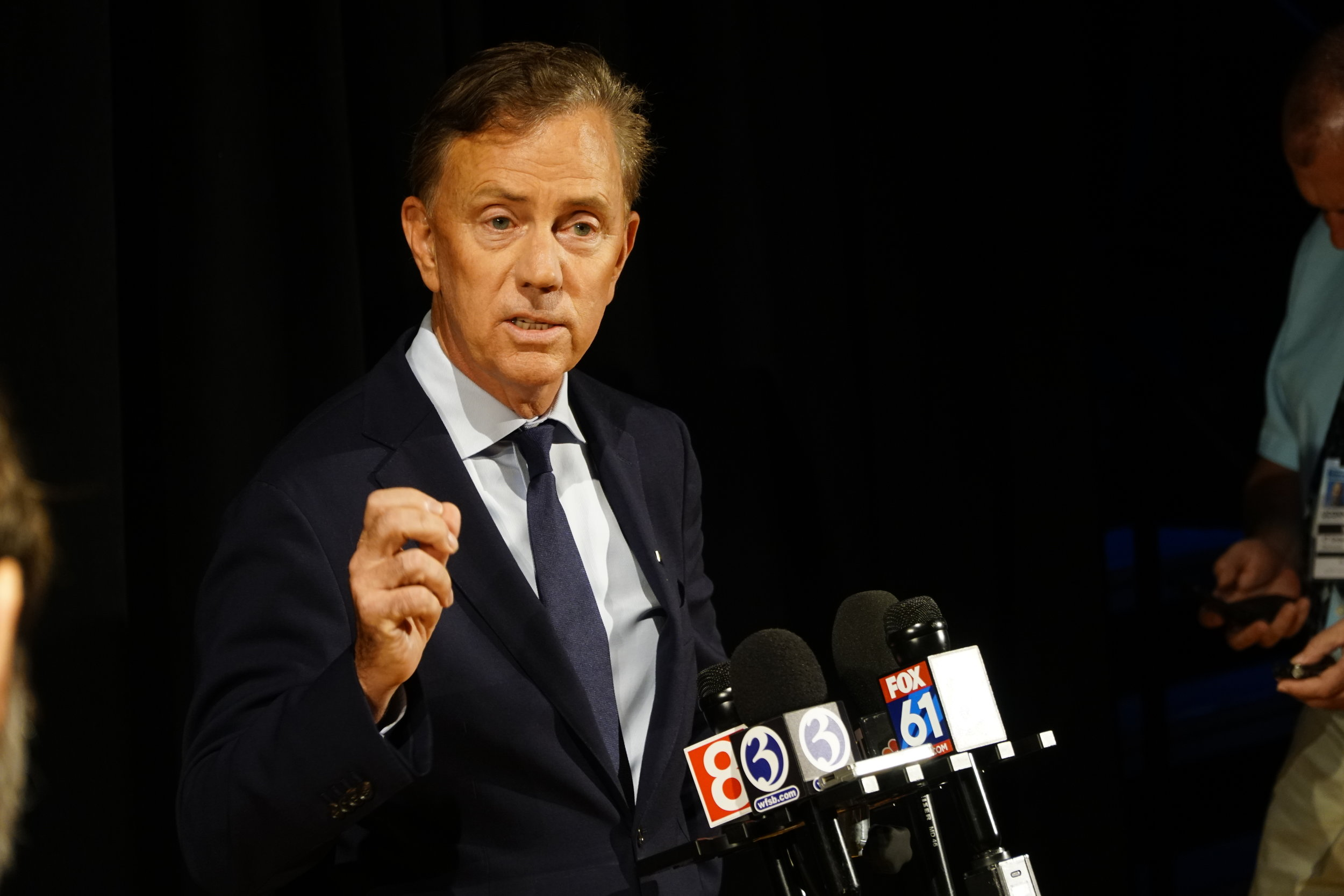 Democratic candidate for governor Ned Lamont speaks at a Gubernatorial debate at the University of Connecticut on Sept. 17, 2018. (Eric Wang/ The Daily Campus)