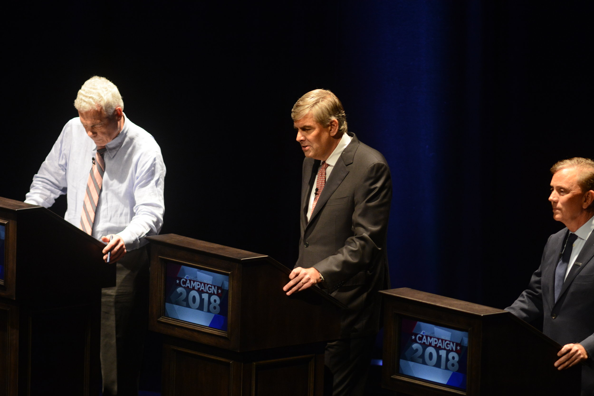 Democrat Ned Lamont, Republican Bob Stefanowski and Independent Oz Griebel speak at a Gubernatorial debate at the University of Connecticut on Sept. 17, 2018. (Eric Wang/ The Daily Campus)