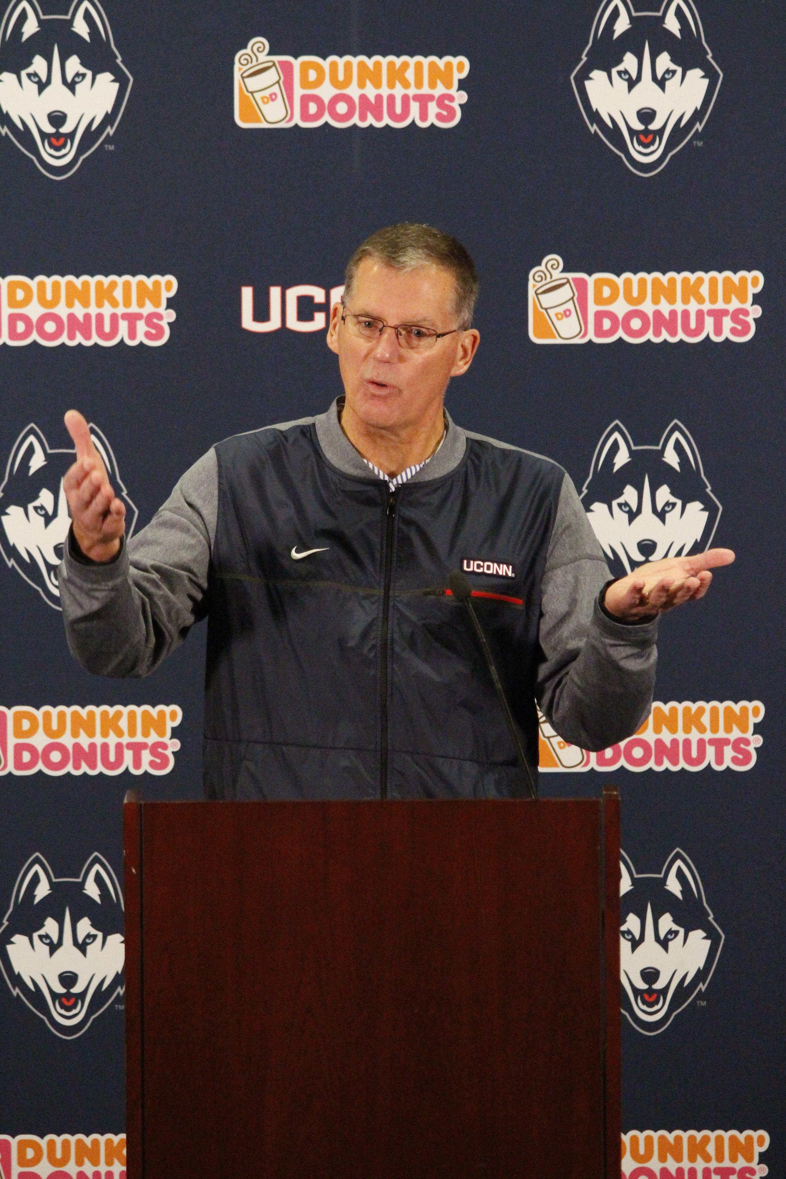 UConn football head coach Randy Edsall discusses balancing football and academics. (Eric Wang/ The Daily Campus)