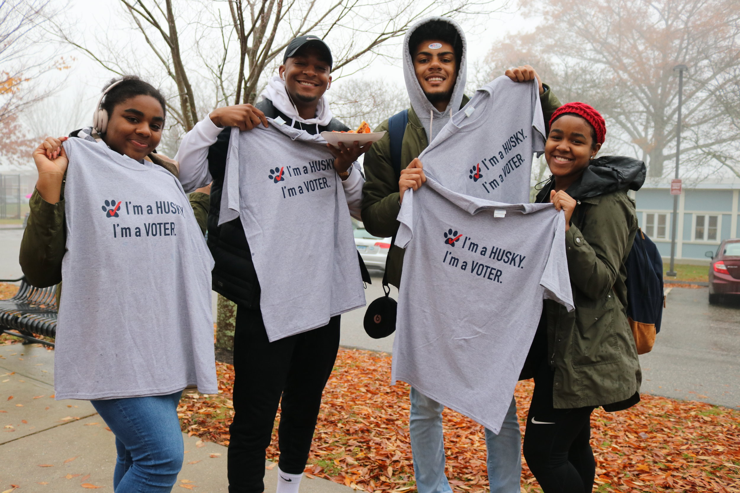 A little rain didn't stop students from getting out to the polls. (Maggie Chafouleas/The Daily Campus)