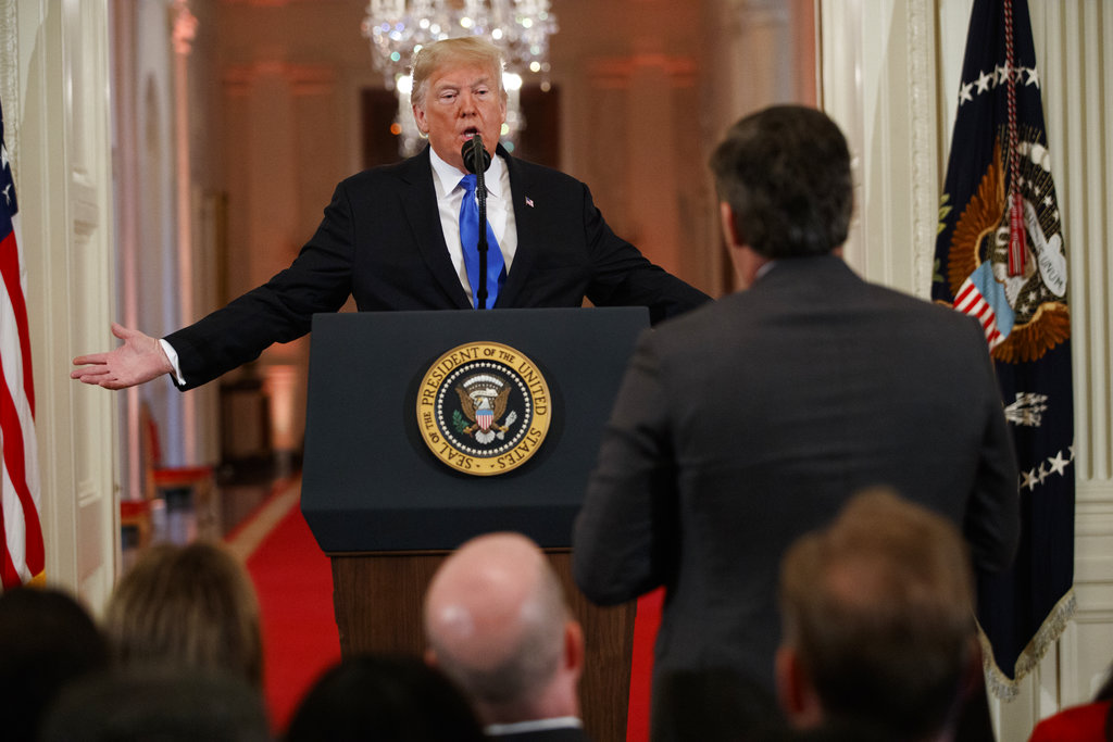 President Donald Trump answers a question from CNN journalist Jim Acosta during a news conference in the East Room of the White House, Wednesday, Nov. 7, 2018, in Washington. (AP Photo/Evan Vucci)