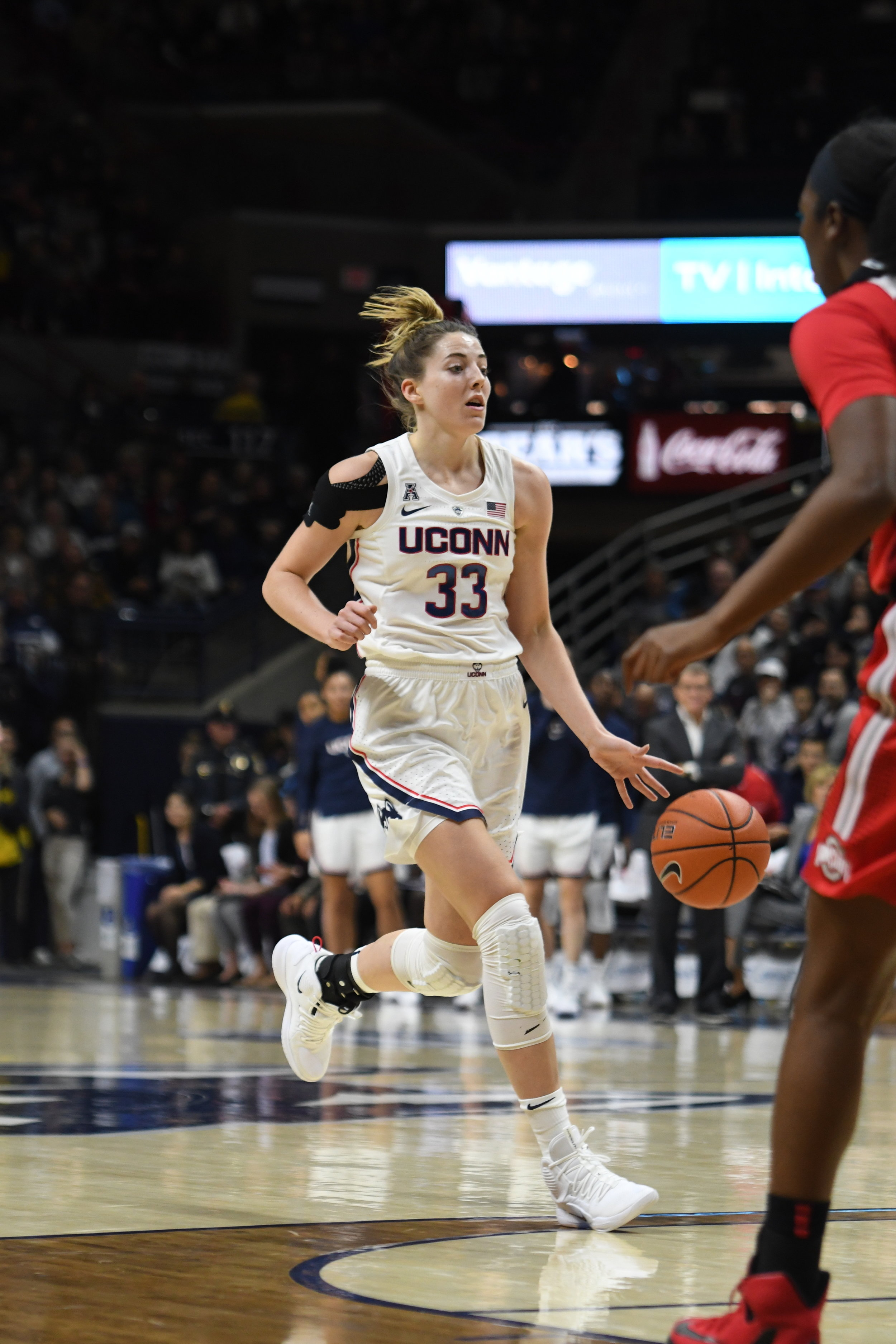 Katie Lou Samuelson brings the ball up the court during a game against Ohio State on Sunday, Nov. 11 at Gampel Pavilion. (Judah Shingleton, Staff Photographer/The Daily Campus)