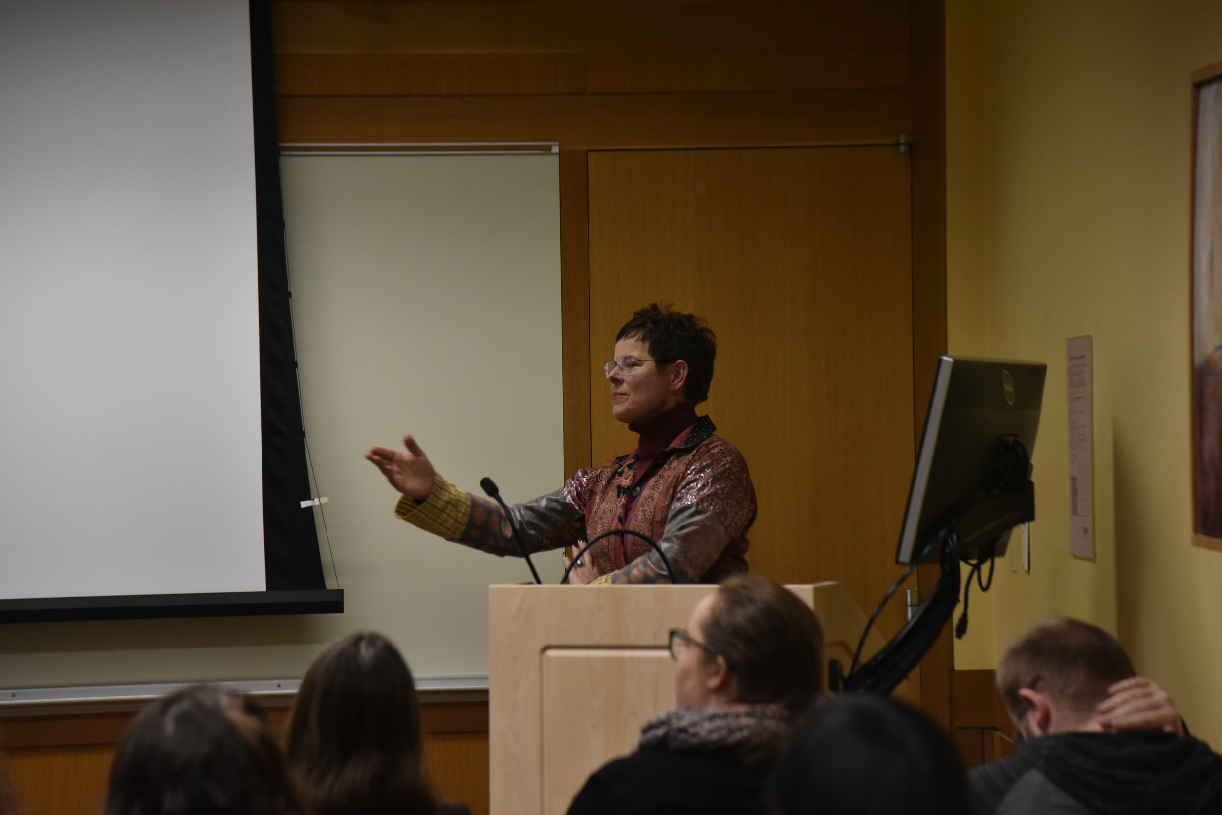 Professor Sabine Fruhstuck presents on the historical and cultural aspects of sex and sexuality through the two main aggressors Japan and Germany. (Photo by Eric Wang/The Daily Campus)