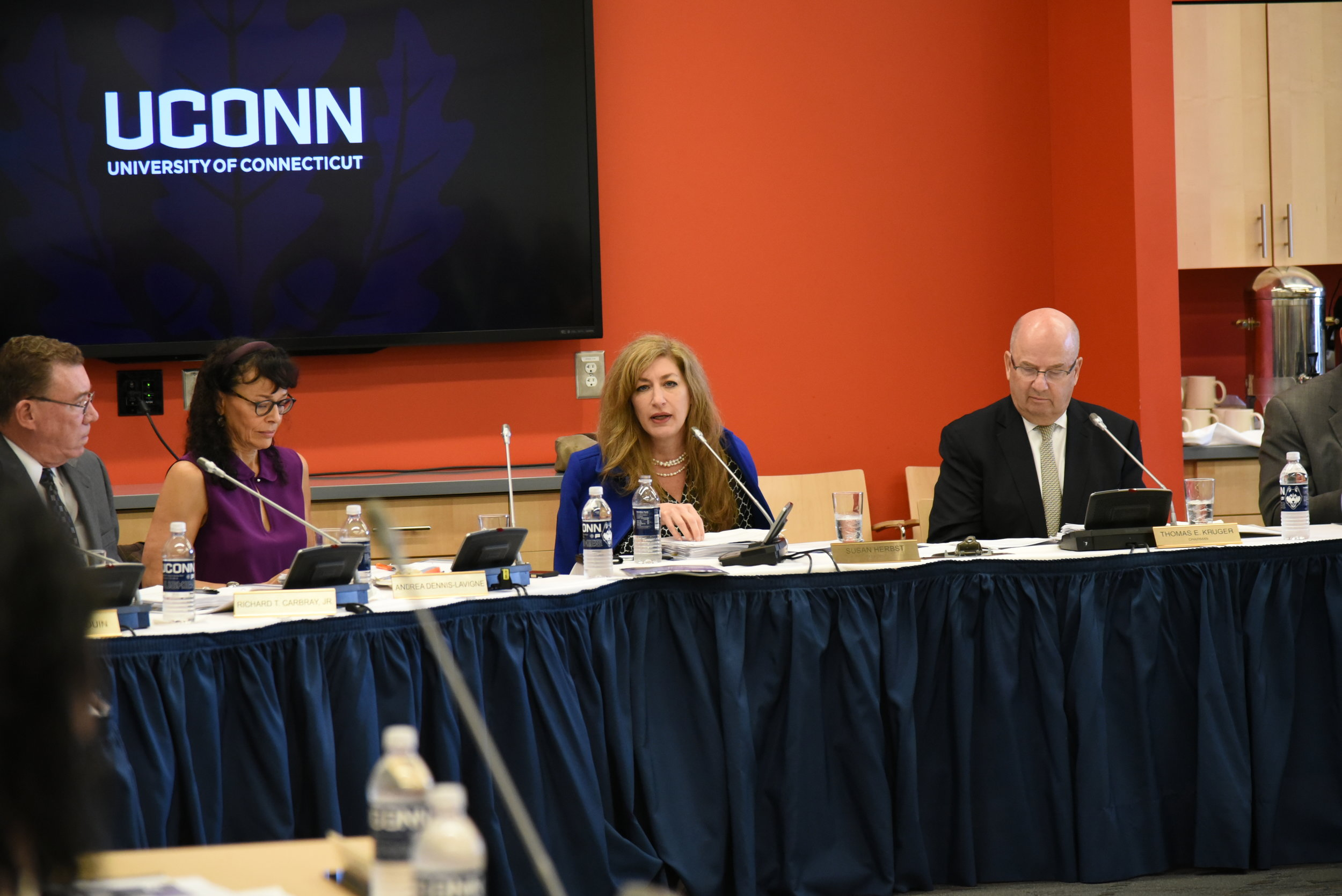 In Werth Tower, the Board of Trustees meets on Wednesday morning. They talked about the budget and events happening in UConn like HuskyThon.2/21/2018 Board of Trustees. (Photo by Charlotte Lao/The Daily Campus)