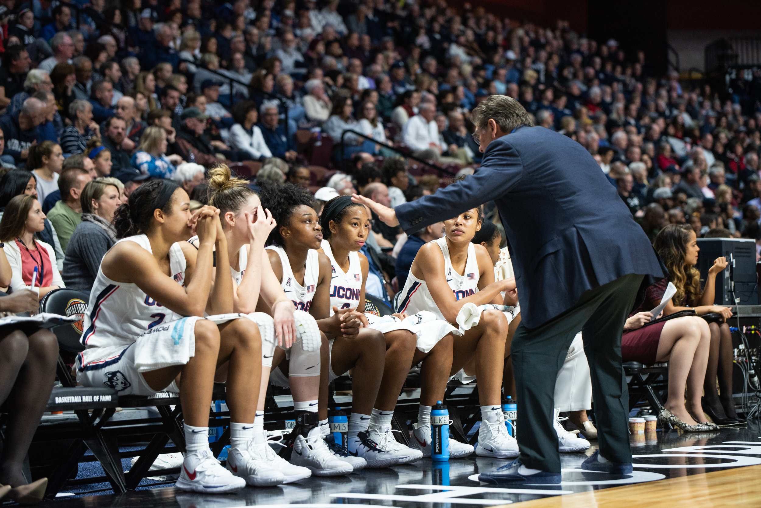 The Huskies pulled out their 125th straight regular season victory Wednesday night at Oklahoma. Photo by Charlotte Lao/The Daily Campus