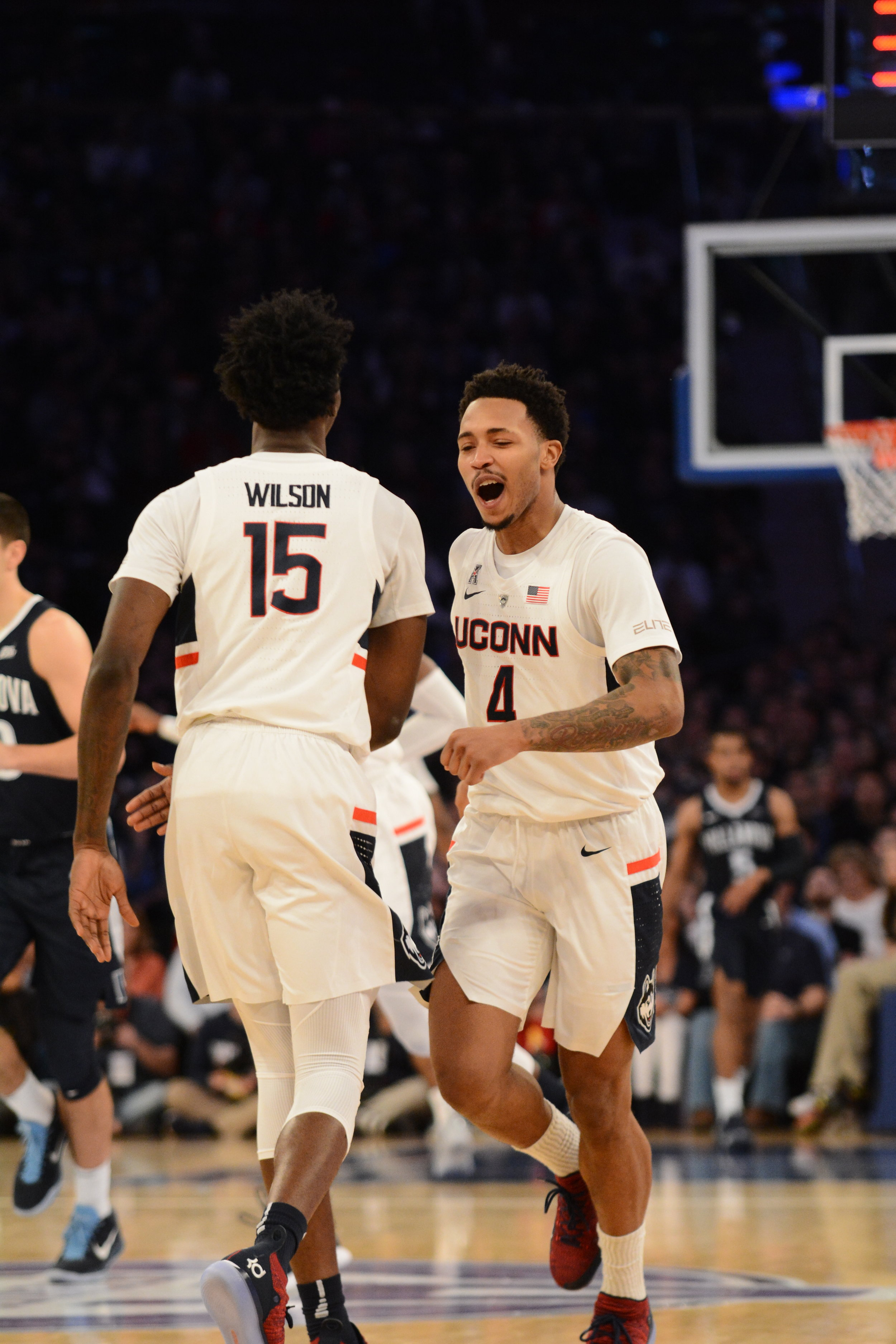 Jalen Adams (right) scored just eight points and did not hit a 3-pointer in UConn's loss to Villanova. at MSG. (Eric Wang/The Daily Campus)