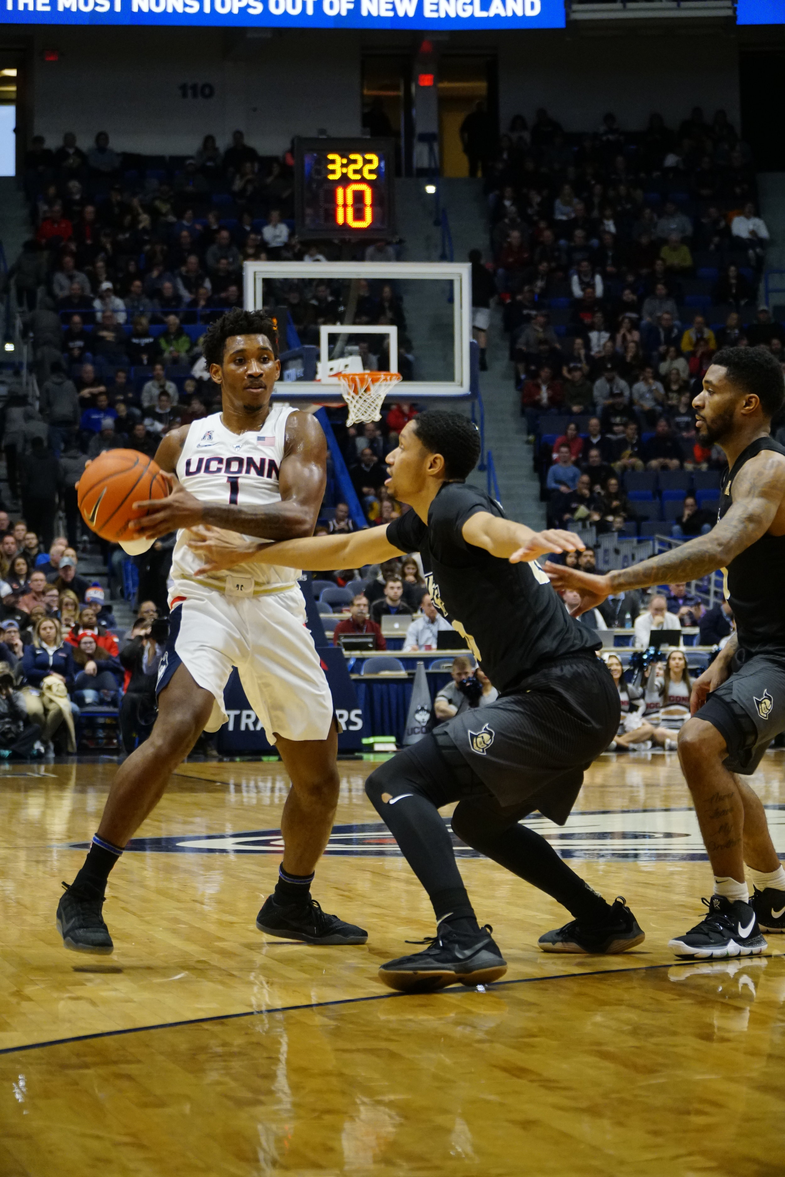 Christian Vital has been a bright spot for the Huskies with his tenacity. Photo by Eric Wang/The Daily Campus