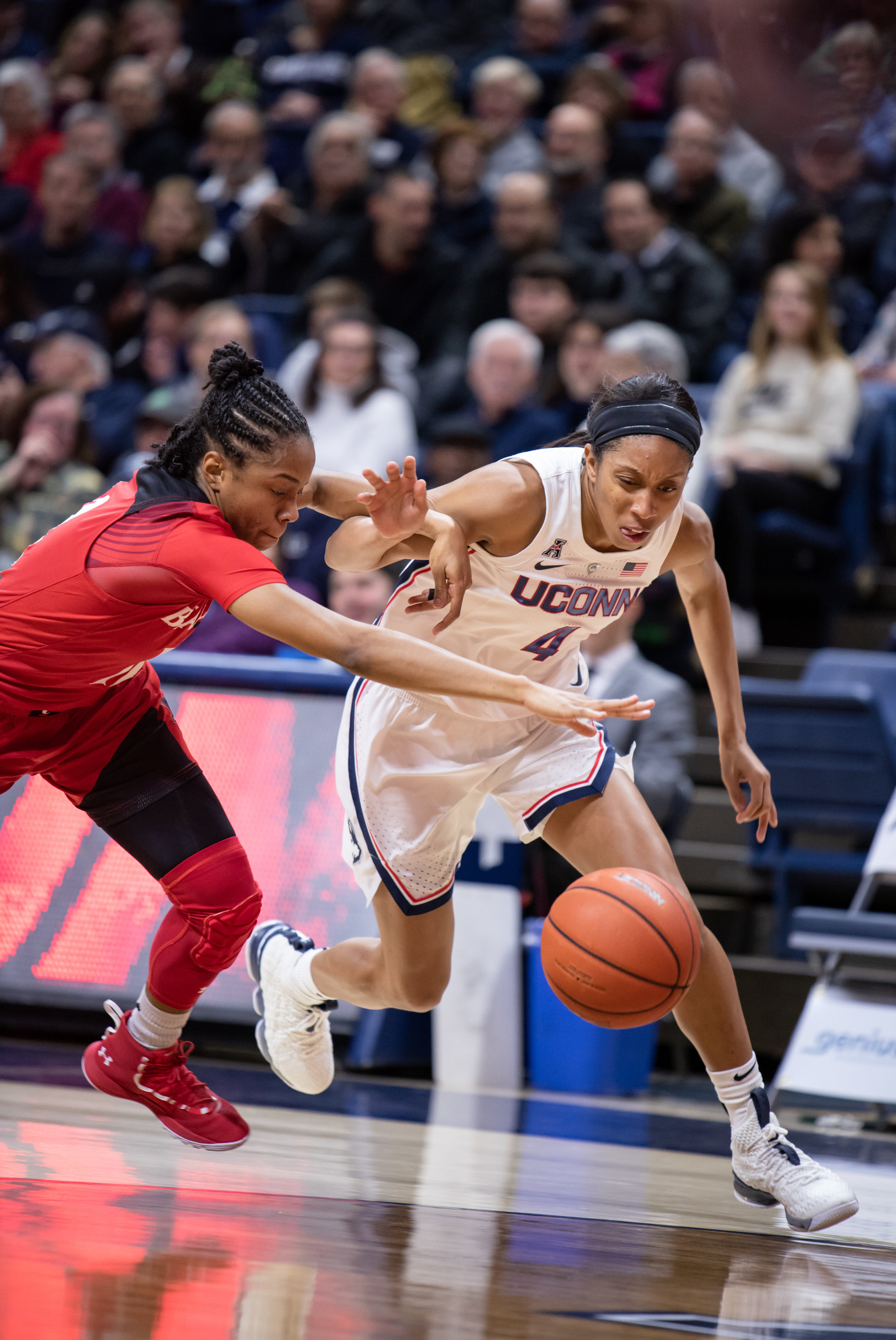 Despite the overwhelming victory, the Huskies bench is still trying to find its role. Photo by Charlotte Lao/The Daily Campus