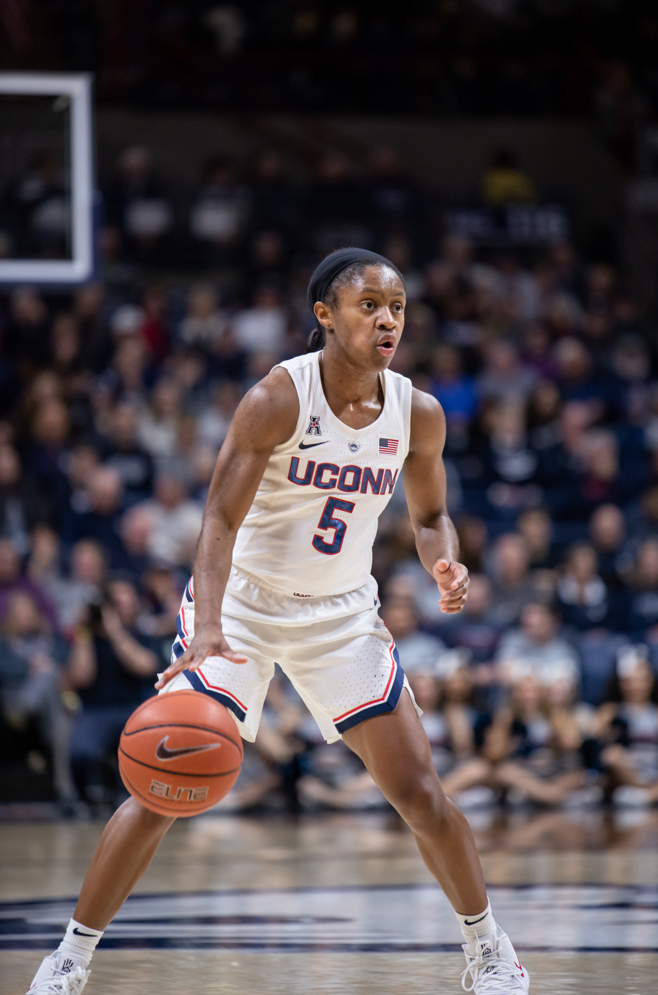Crystal Dangerfield has emerged as the leader on the court with her communication and direction of traffic. Photo by Charlotte Lao/The Daily Campus