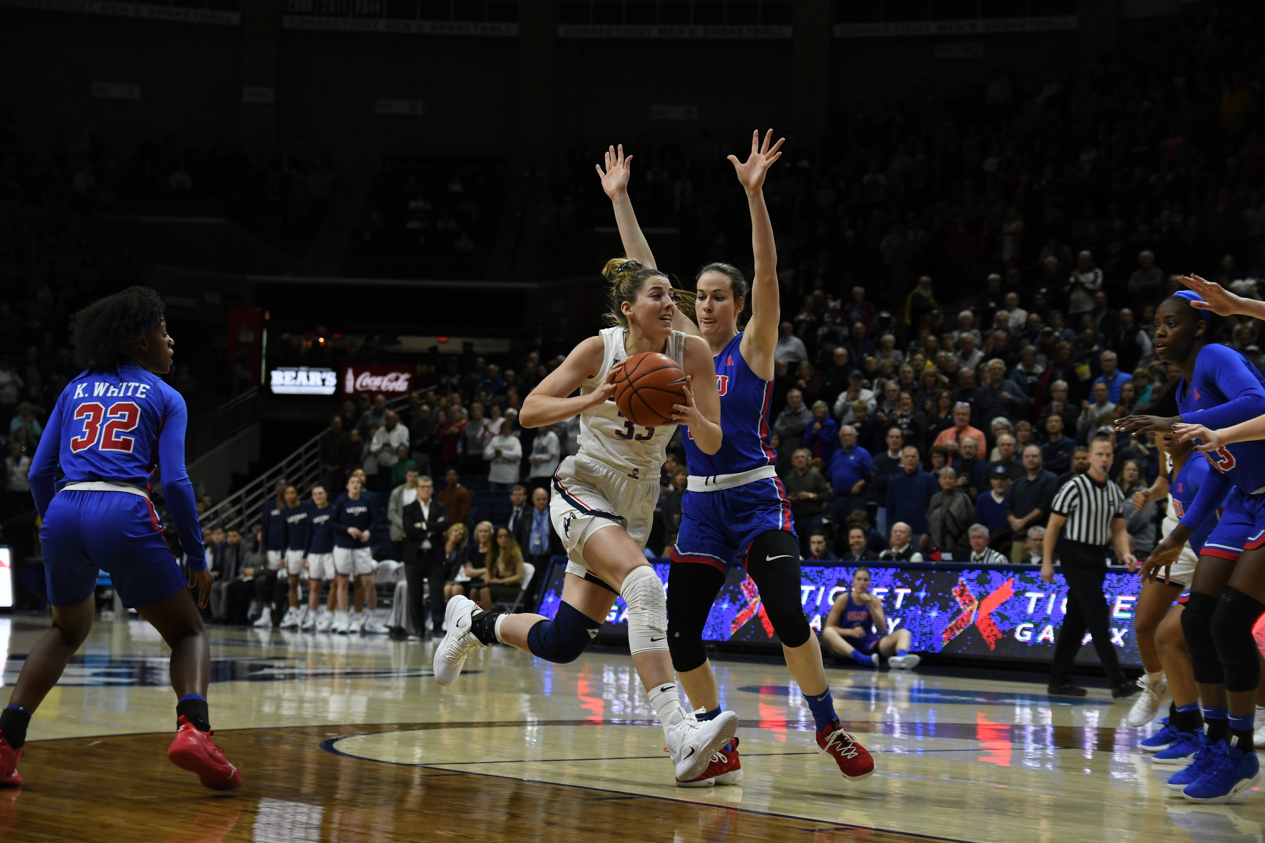 Katie Lou Samuelson played a key role in the teams win over SMU (Nicholas Hampton/The Daily Campus)