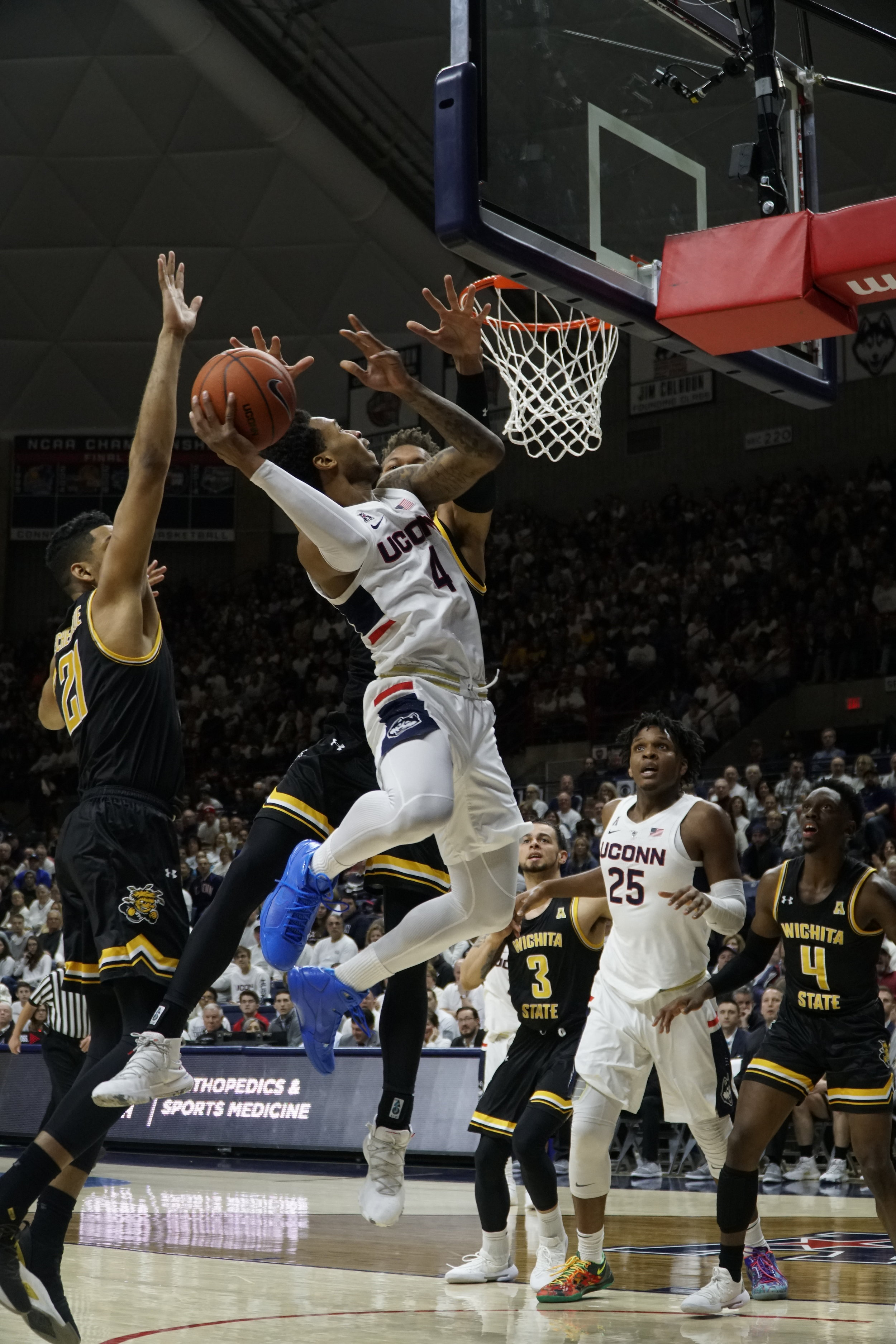 Jalen Adams rises up for a layup in an 80-60 victory over Wichita State. (Eric Wang/The Daily Campus)