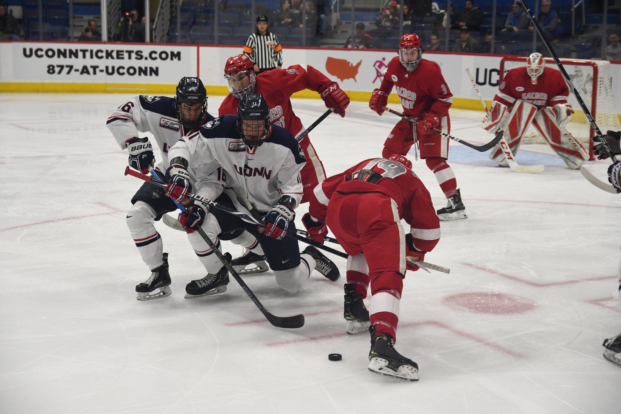Men's hockey lost 1-2 against Sacred Heart University in the XL Center Tuesday night. UConn's goal was scored by Karl El-Mir in the third period. Their next game is against Boston College Friday at 7:05 in the XL Center. (Photo by Nick/The Daily Campus)