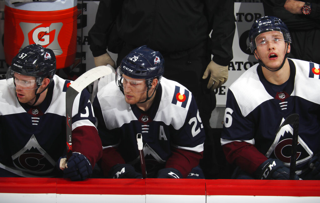 Colorado Avalanche left wing J.T. Compher, center Nathan MacKinnon and right wing Mikko Rantanen, from left, take in the final seconds of the team's NHL hockey game against the Minnesota Wild on Wednesday, Jan. 23, 2019, in Denver. The Wild won 5-2. (AP Photo/David Zalubowski)