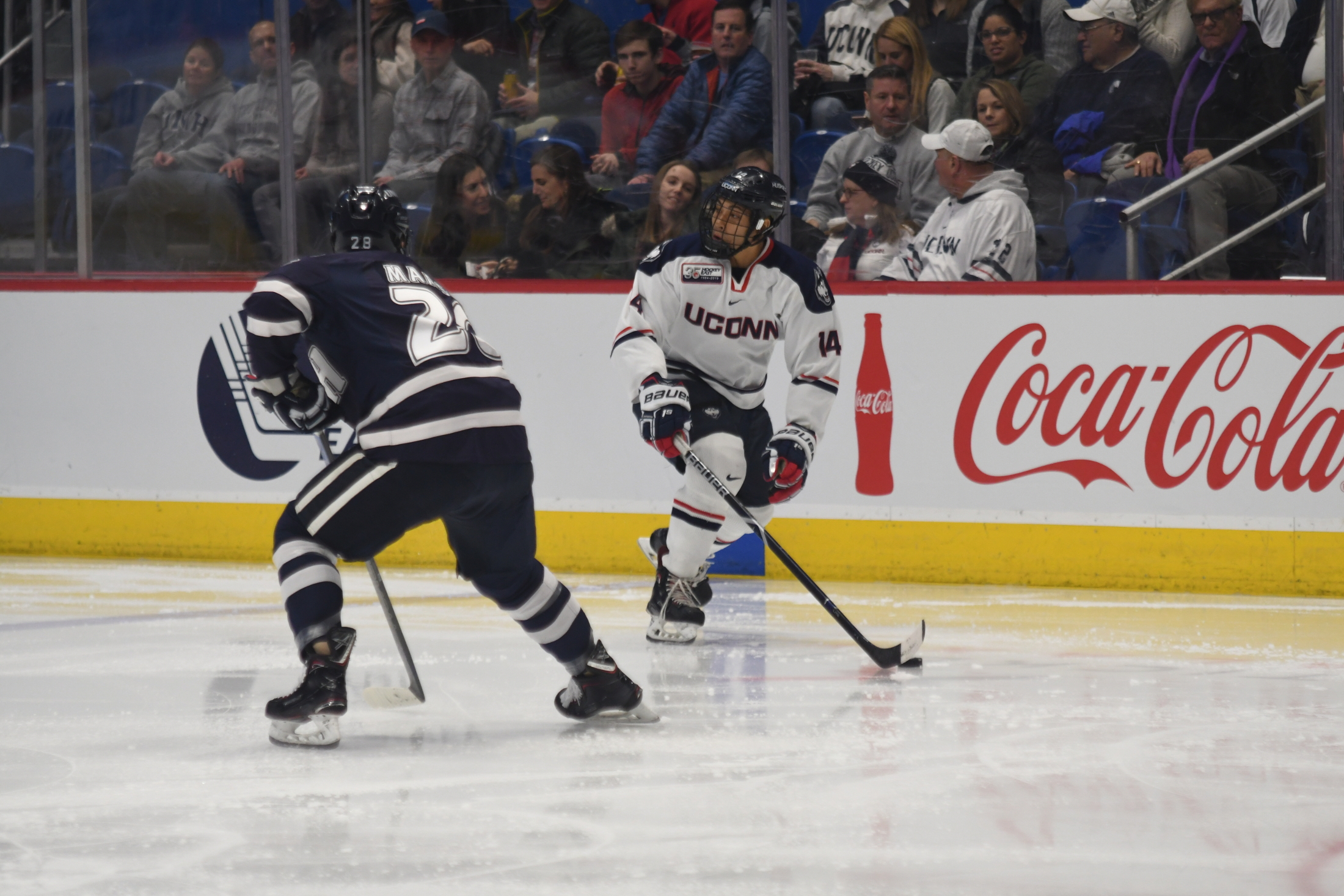 The UConn men's hockey team battled the University of New Hampshire at the XL Center in Hartford, Connecticut on January 25, 2019. The game resulted in a 2-2 tie after an overtime (Judah Shingleton/The Daily Campus)