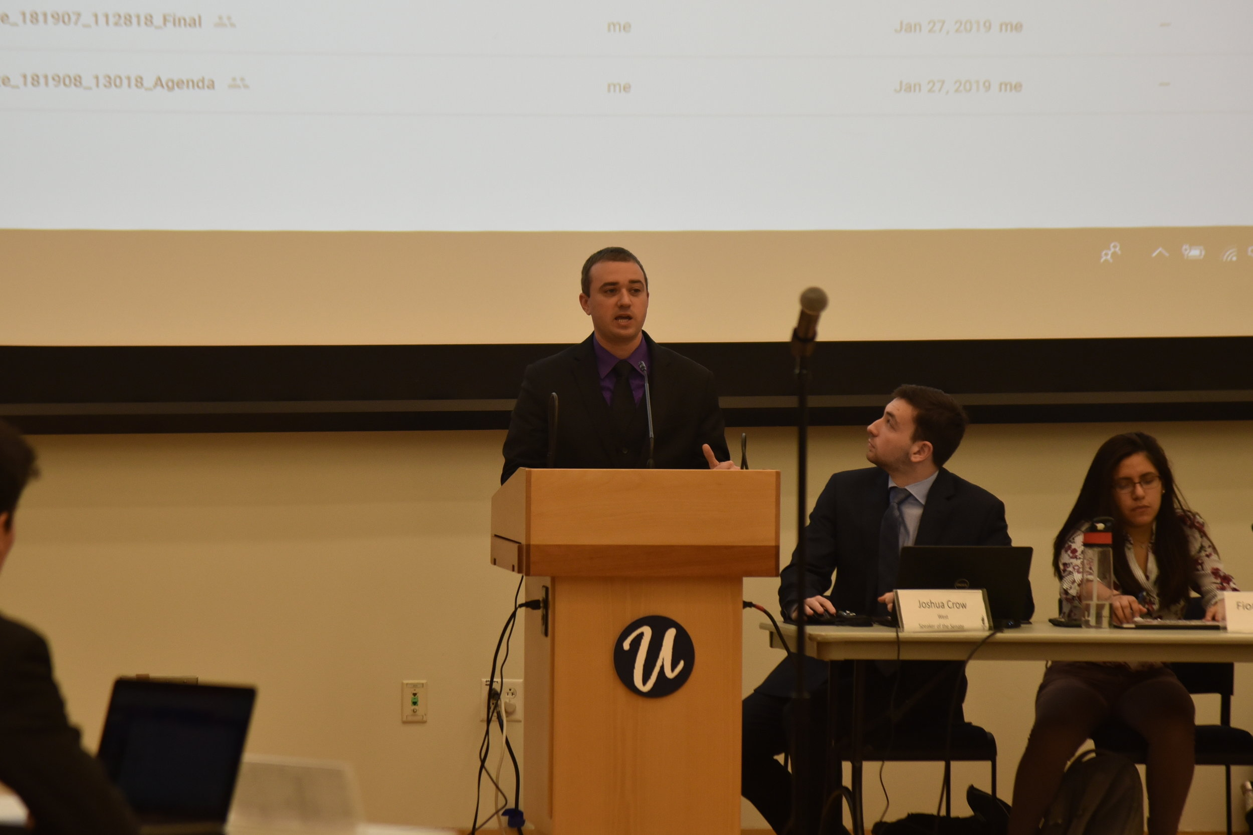 During USG's meeting on a snowy Wednesday in January, they invited a UConn Alum speaker that previously worked in USG. (Eric Yang/The Daily Campus)