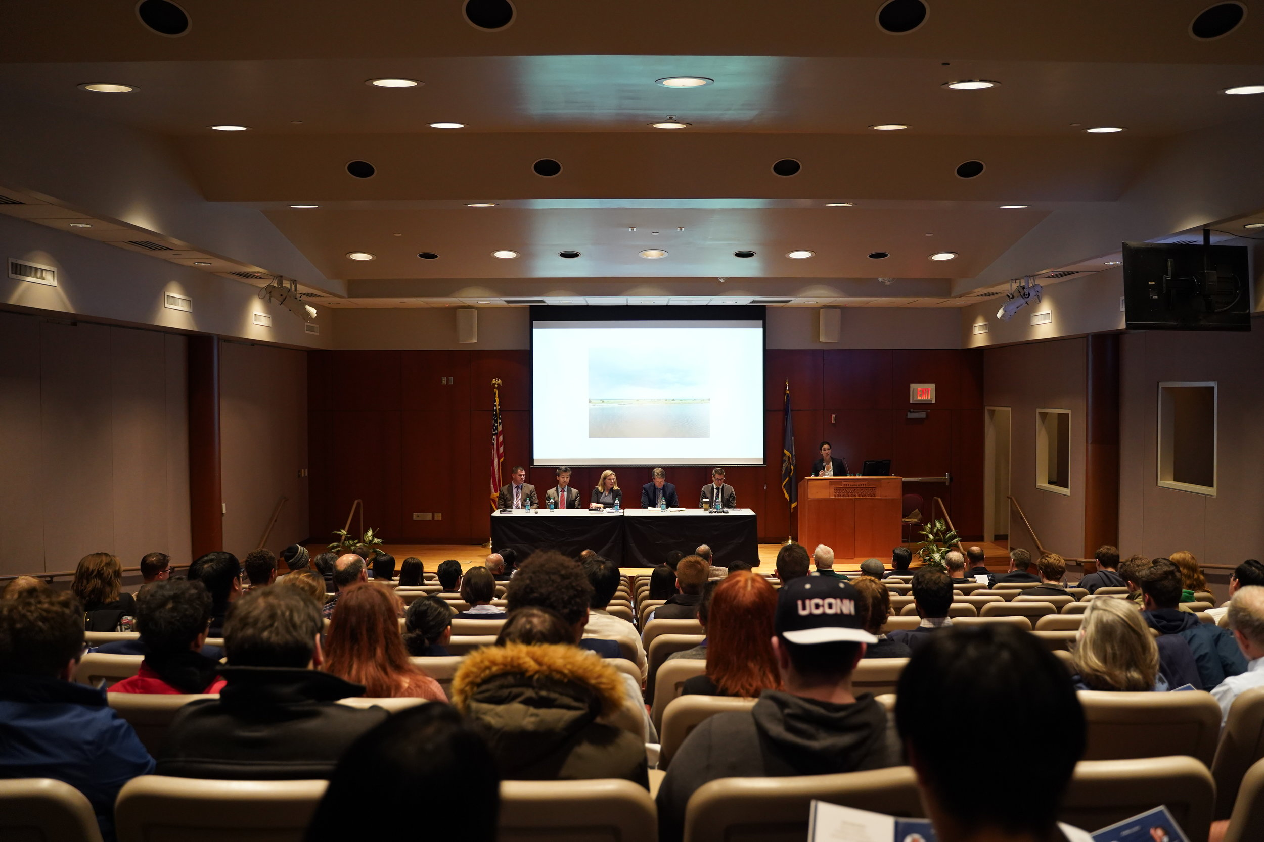 A panel of experts discusses the surrounding seas of Northeast and Southeast Asia in Konover Auditorium, The Dodd Center at Feb 7th. (Congyang An/The Daily Campus)