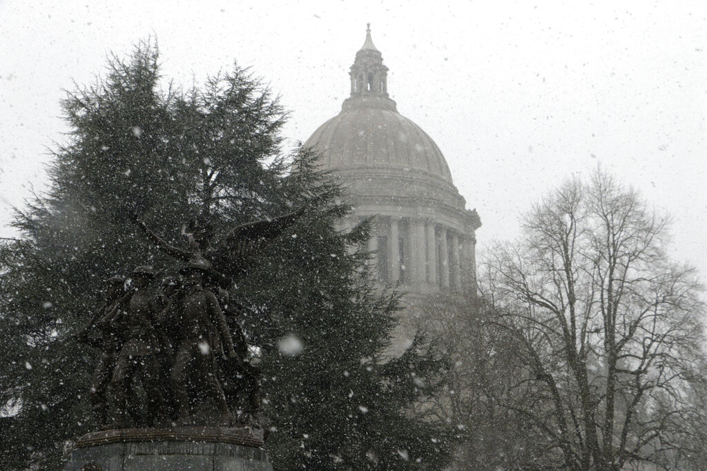 Snow falls at the Washington Capitol in Olympia, Wash. on Friday, Feb. 8, 2019. Seattle and other areas of the Puget Sound are bracing for a winter storm that is expected to bring 4 to 8 inches of snow. (AP Photo/Rachel La Corte)