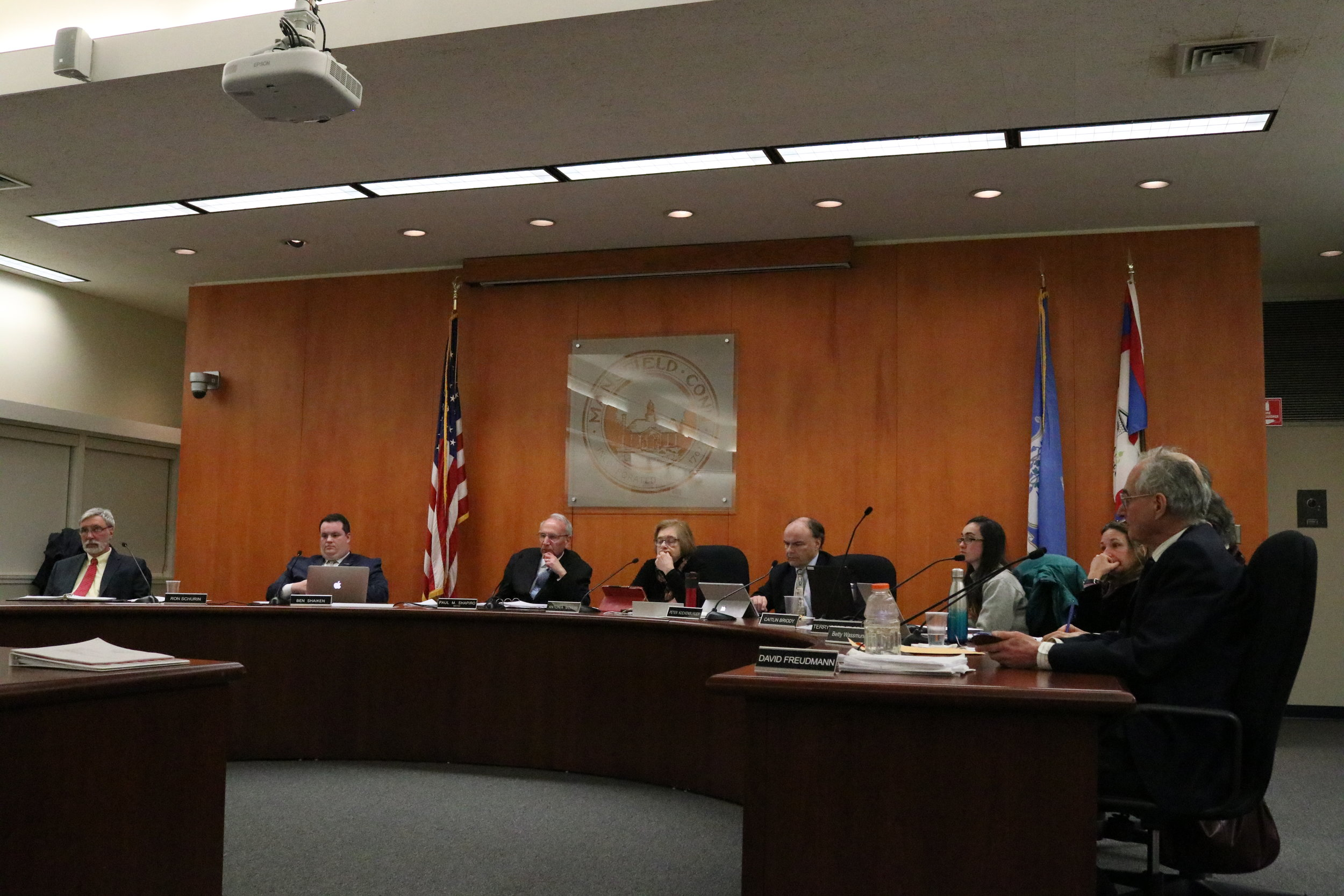 The Mansfield Town Council votes to adopt the BYOB Ordinance banning plastic checkout bags in Mansfield. The ban was passed 8 to 1. (Maggie Chafouleas/The Daily Campus)