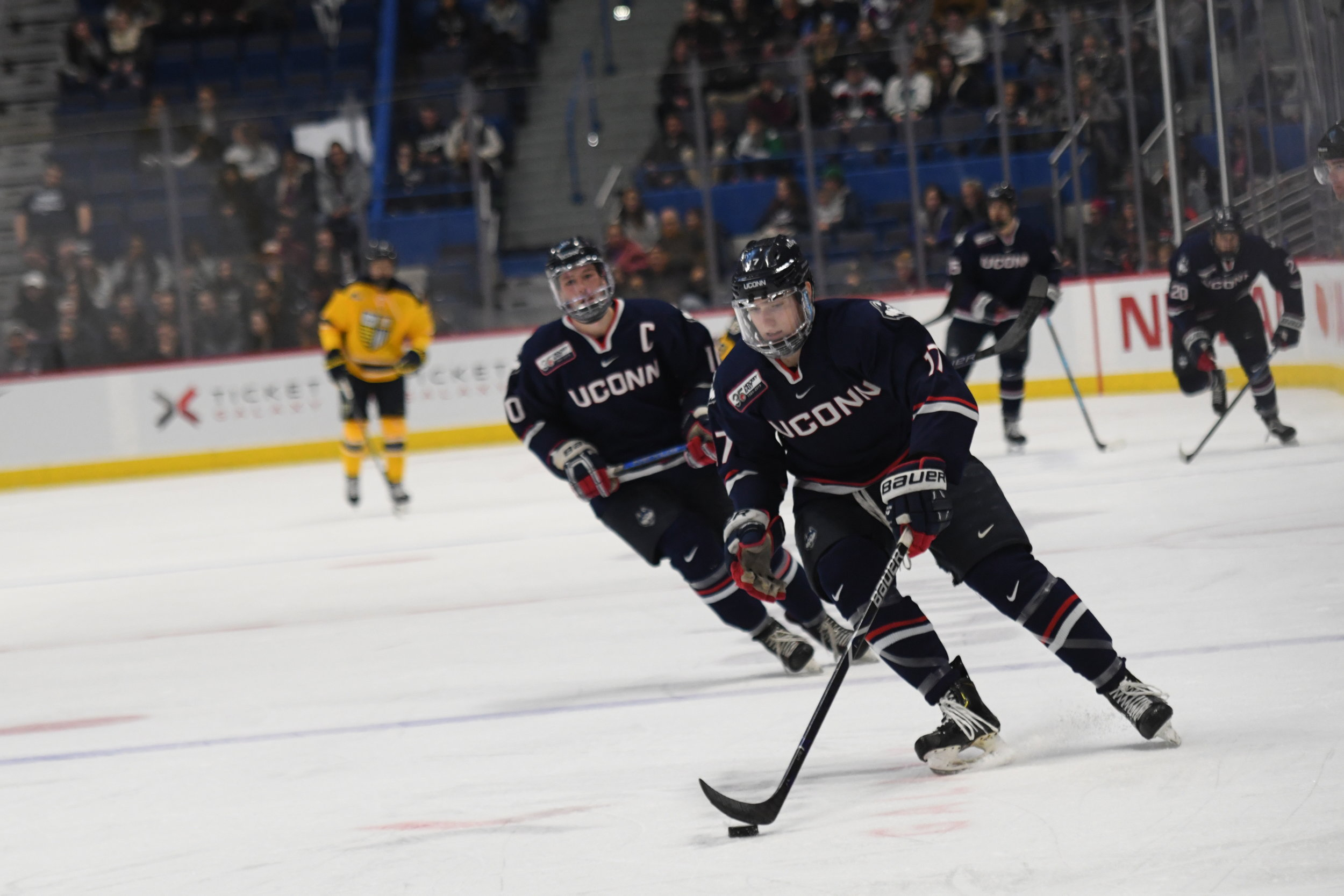 The UConn Men's Hockey Team shut out Merrimack College 5-0 in front of a record 8200 fans Saturday evening in the XL Center. The stands were full of immense energy as the Huskies brought their A game. (Photo by Kevin Lindstrom/The Daily Campus)