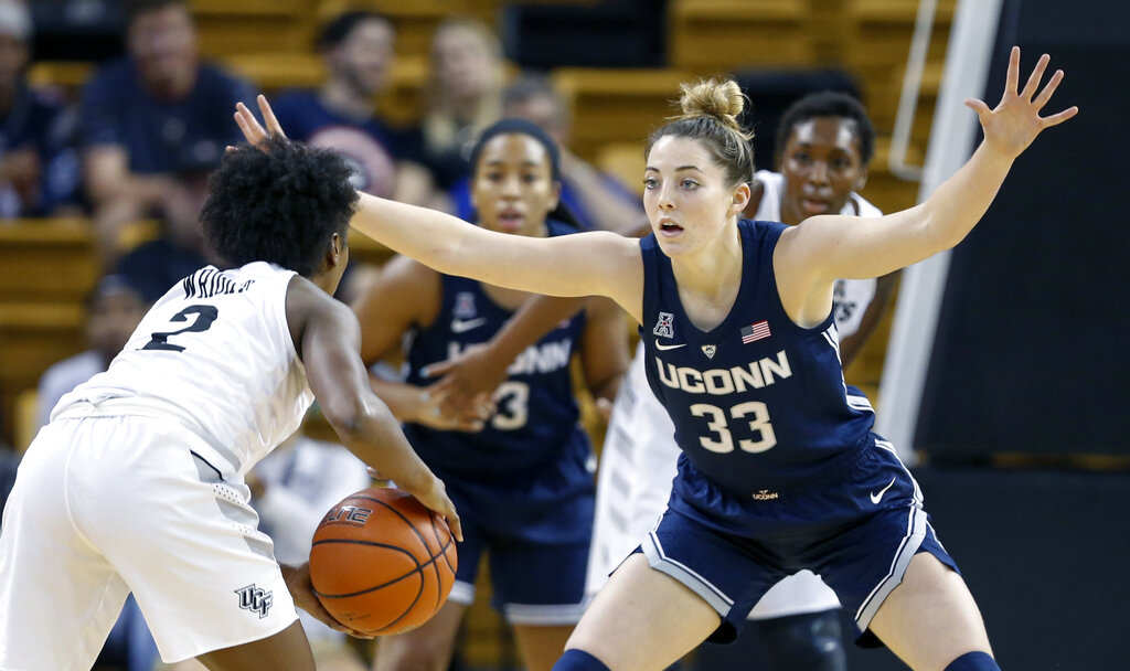 Connecticut guard/forward Katie Lou Samuelson (33) guards against Central Florida guard Korneila Wright (2) during the first quarter of an NCAA college basketball game in Orlando, Fla., on Sunday, Feb. 17, 2019. (AP Photo/Reinhold Matay)