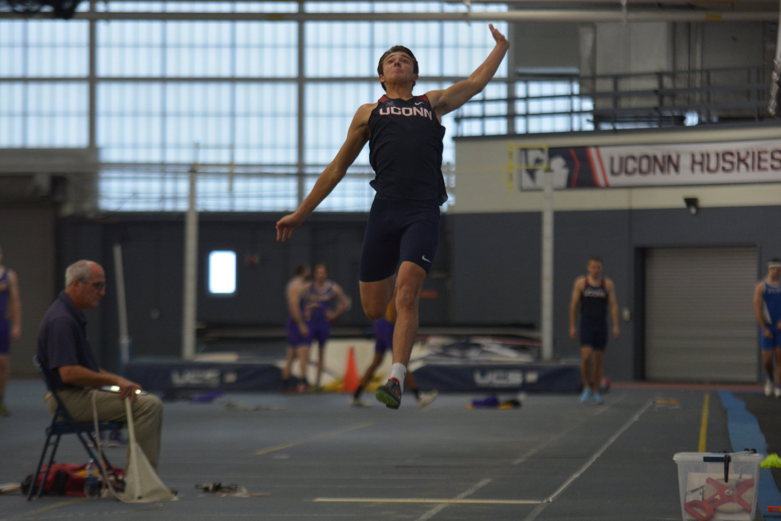 The University of Connecticut held a two day men's track heptatholon Thursday Dec. 7. UConn Junior Malik Snead was at the top of the standings after the first day. (Photo by Nicholas Hampton/The Daily Campus)