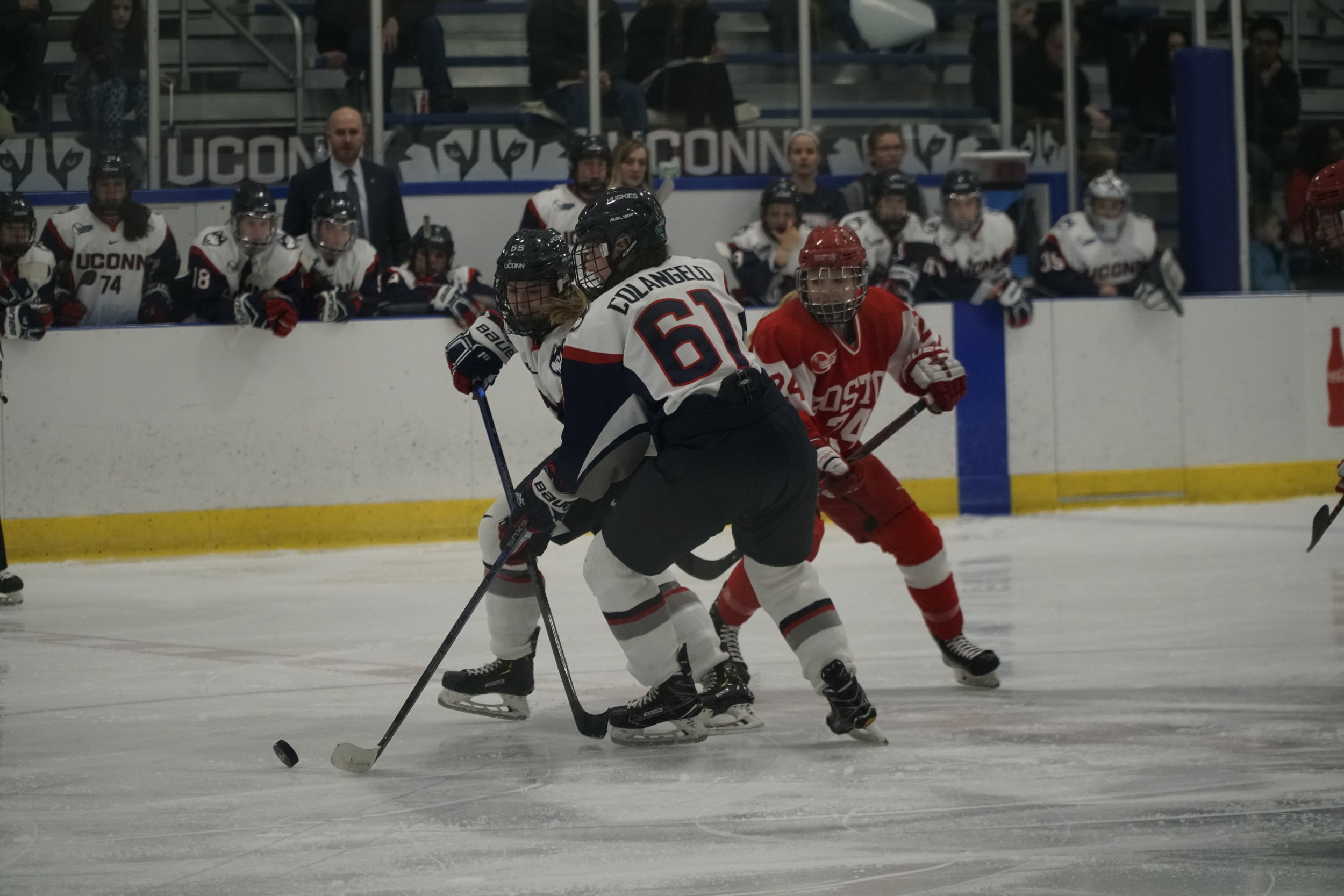 In front of one of the biggest home crowds of the season Friday night, UConn (14-16-4, 9-14-4 Hockey East) was unable to permeate BU's strong defense and goaltending. (Eric Wang/The Daily Campus)