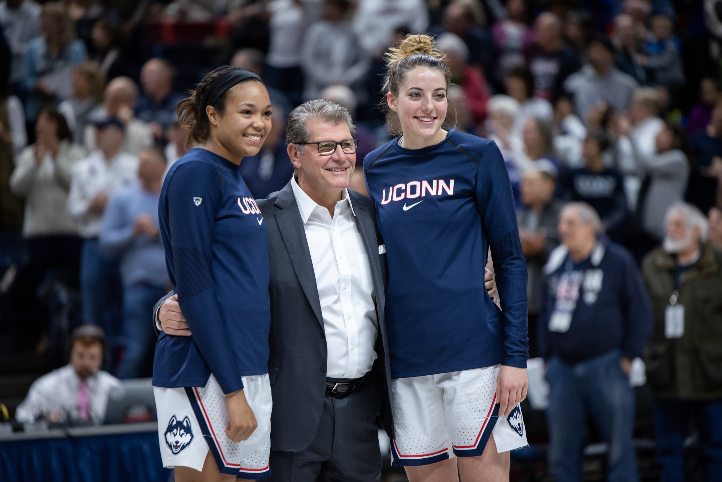 "Seniors Napheesa Collier and Katie Lou Samuelson had their names added to the ""Huskies of Honor."" Photo by Charlotte Lao/The Daily Campus"