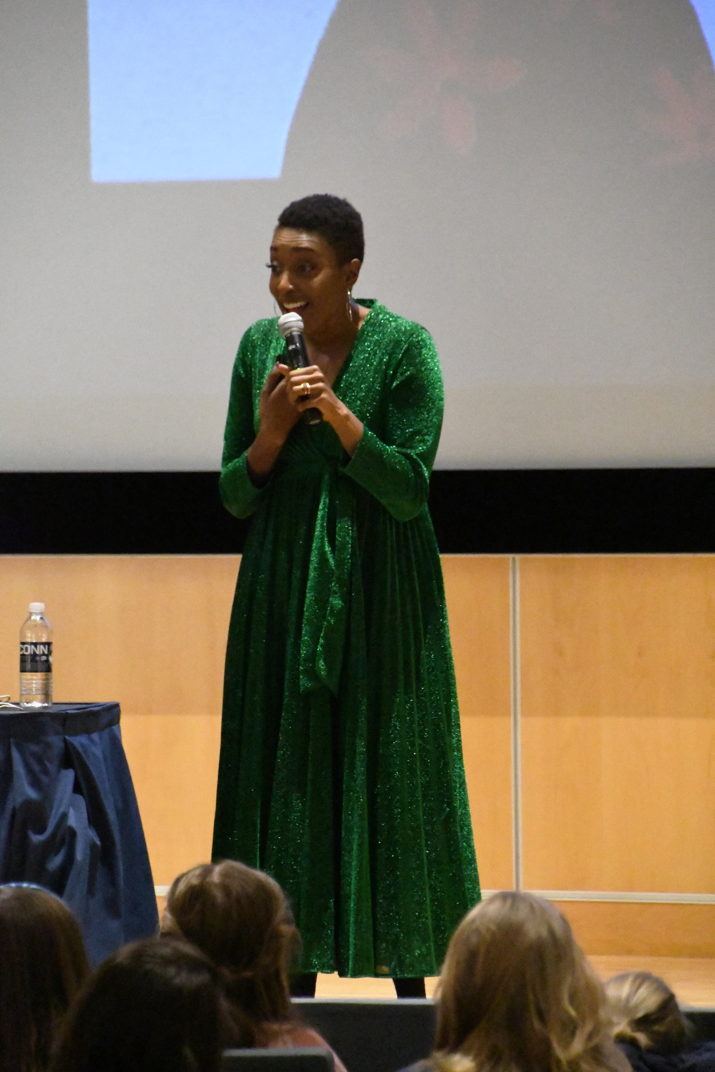Franchesca Ramsey, a successful activist speaks to a group of students about discrimination and privilege. Ramsey gave a talk at the Student Union Theater that was followed by a Q & A where audience members asked her about how to approach difficult situations regarding these issues. (Julie Spillane/The Daily Campus)