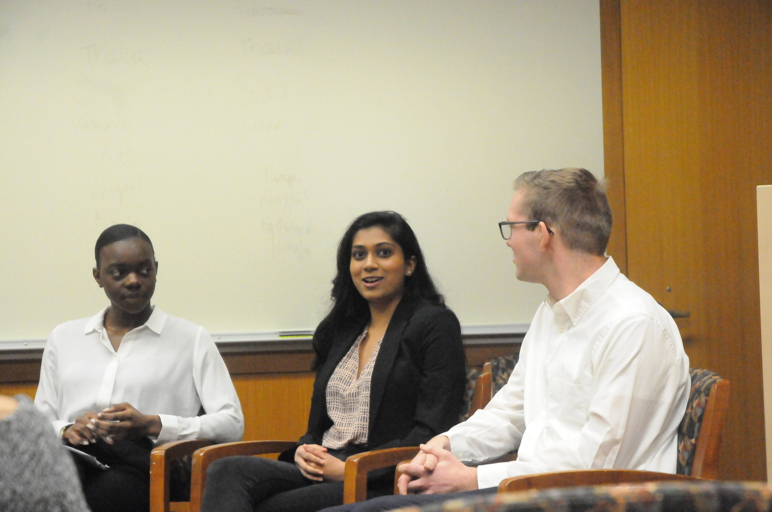 "A panel of student leaders from the University of Connecticut Global Health Symposium Organizing Committee (GloHSOC) in the Class of 1947 Meeting Room of the Homer Babbidge Library set a personalized tone at the global health event titled ""Directing the Dialogue: How Global Health Literacy Builds Better Advocates, Activists and Leaders"" Friday. (Nicole Jain/The Daily Campus)"