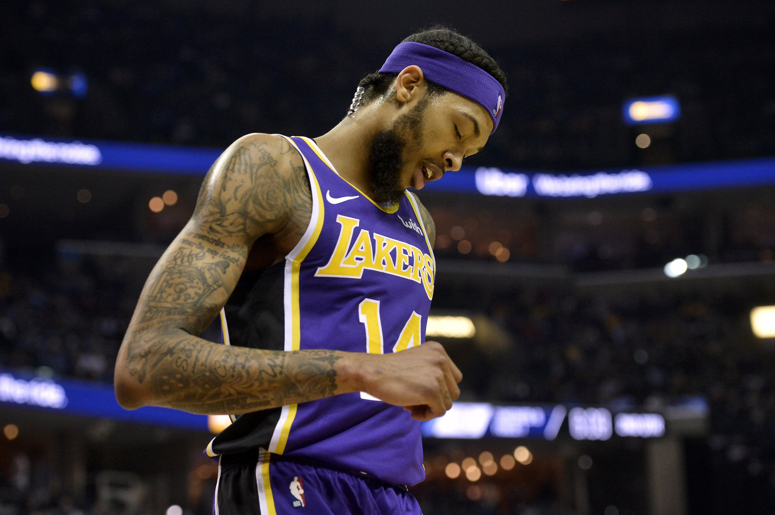 In this Monday, Feb. 25, 2019, file photo, Los Angeles Lakers forward Brandon Ingram (14) plays in the first half of an NBA basketball game against the Memphis Grizzlies in Memphis, Tenn. Ingram will miss the rest of the season after being diagnosed with a deep venous thrombosis in his right arm, the Lakers announced Saturday, March 9, 2019. (AP Photo/Brandon Dill, File)