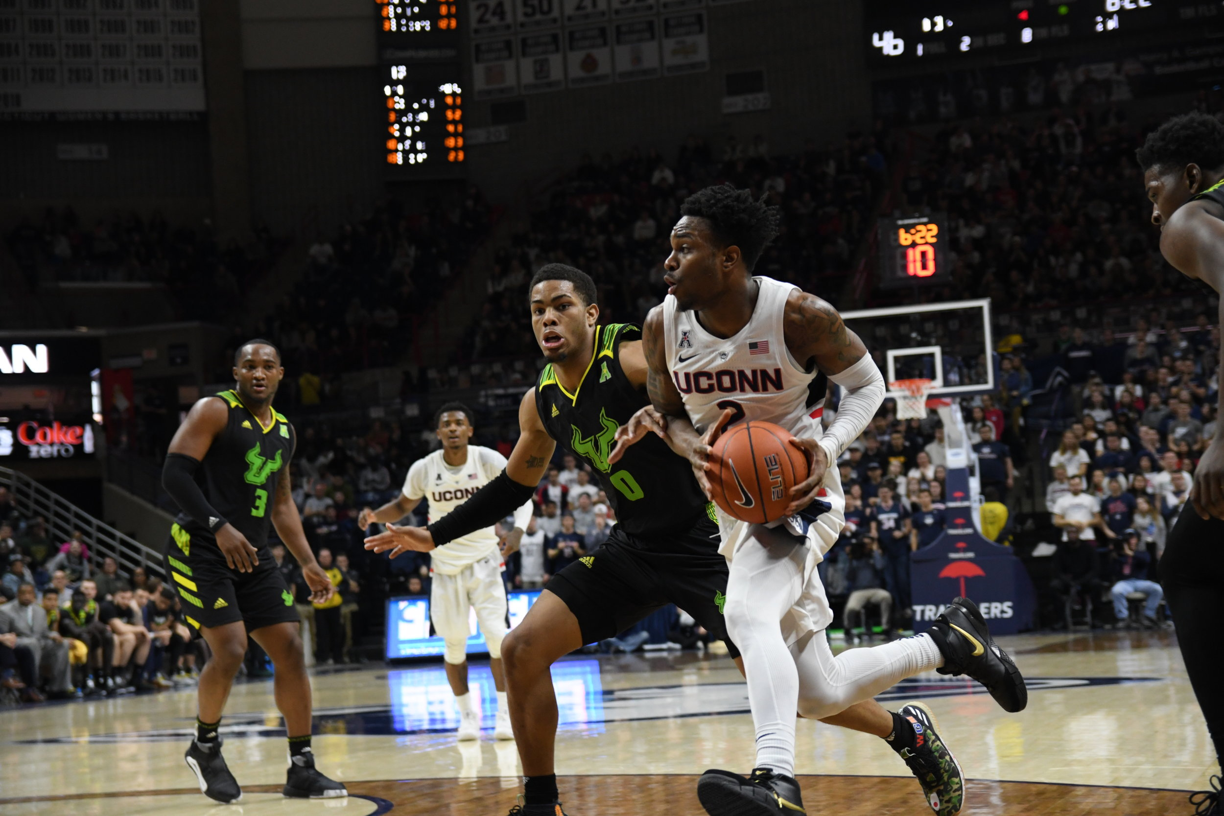 The Huskies beat USF Sunday afternoon in Gampel Pavilion. The game was close with a halftime score of 28-27 UConn and a final win for UConn with a score of 60-58. Their next game is Thursday March 7 in Gampel. (Photo by Nicholas Hampton/The Daily Campus)