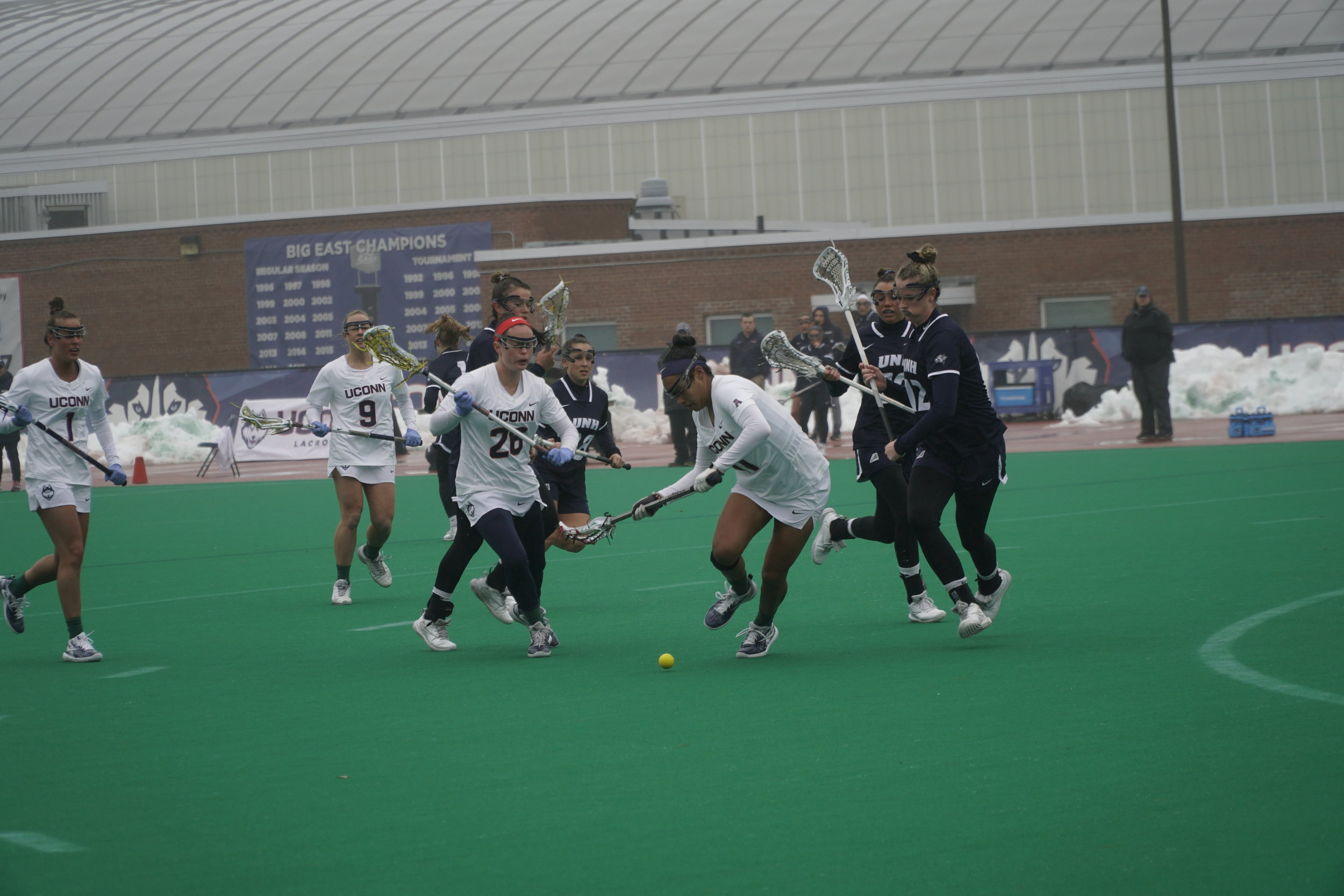 The Huskies lost to the UNH Wildcats 12-13. Their next home game is on 3/13 against University of Albany. (Photo by Eric Wang/The Daily Campus)