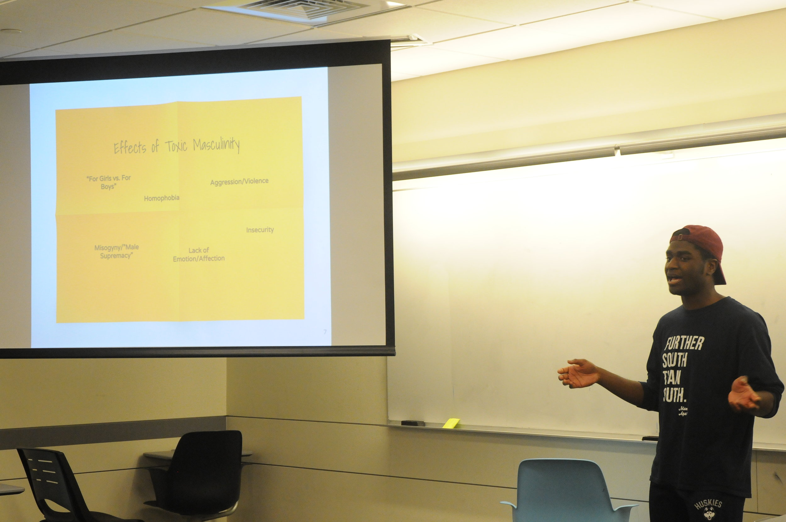An undergraduate student leads a talk about the societal views on masculinity in Oak Hall. (Hanaisha Lewis/The Daily Campus)