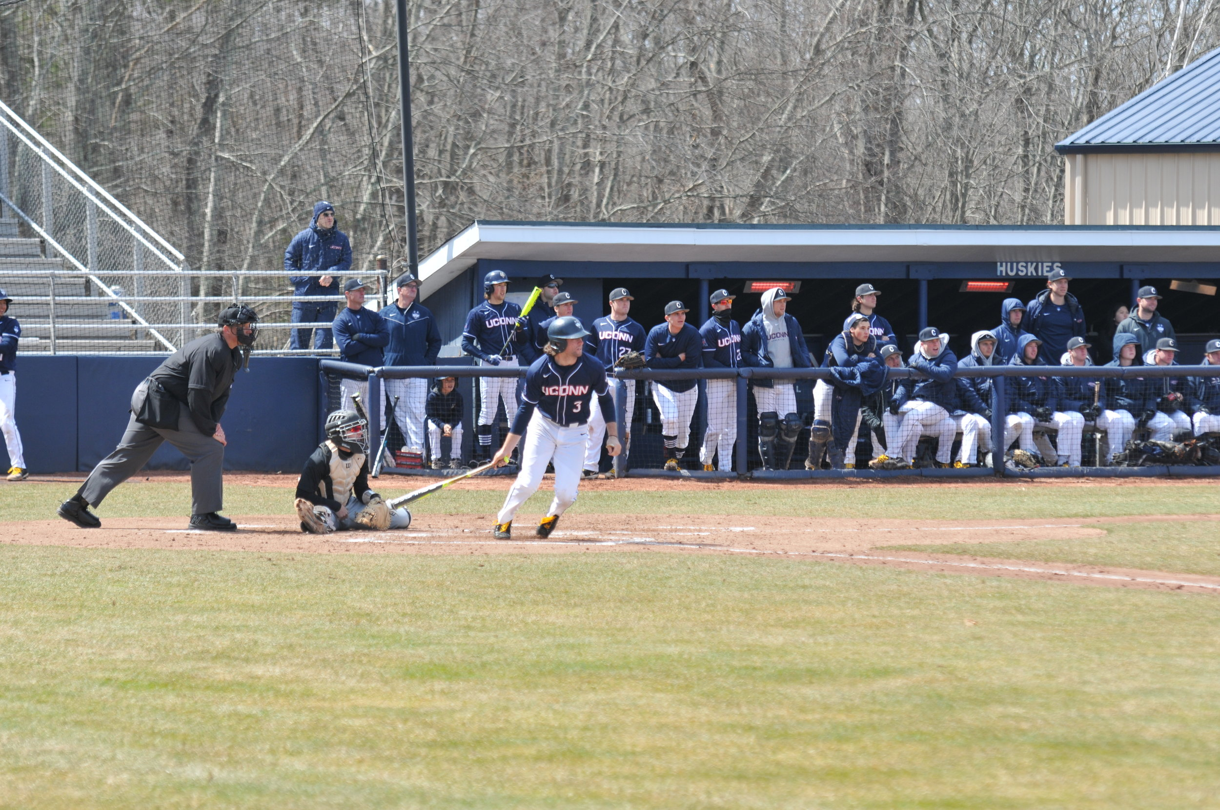 UConn took to the plate against USF on Saturday, Apr. 8 at Christian Field. The Huskies, in a double header, lost 10-8 on Saturday and won 6-2 on Sunday. (Photo by Jon Sammis/The Daily Campus)