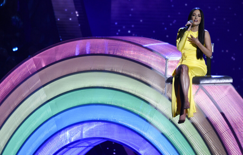 """Kacey Musgraves performs """"Rainbow"""" at the iHeartRadio Music Awards on Thursday, March 14, 2019, at the Microsoft Theater in Los Angeles. (Photo by Chris Pizzello/Invision/AP)"""