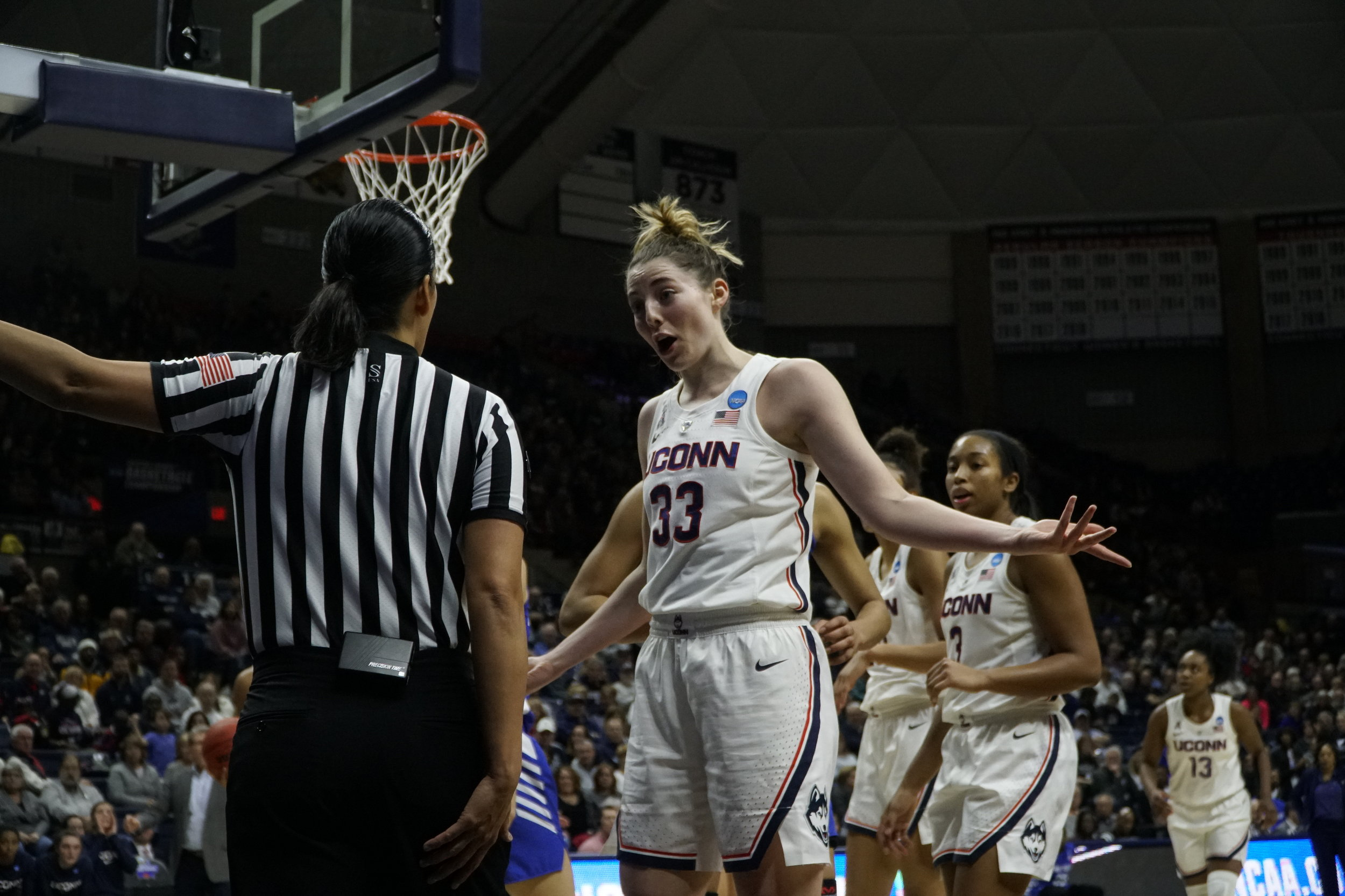 Katie Lou Sameulson pleads her case to an official during UConn's second round victory. (Eric Wang/The Daily Campus)
