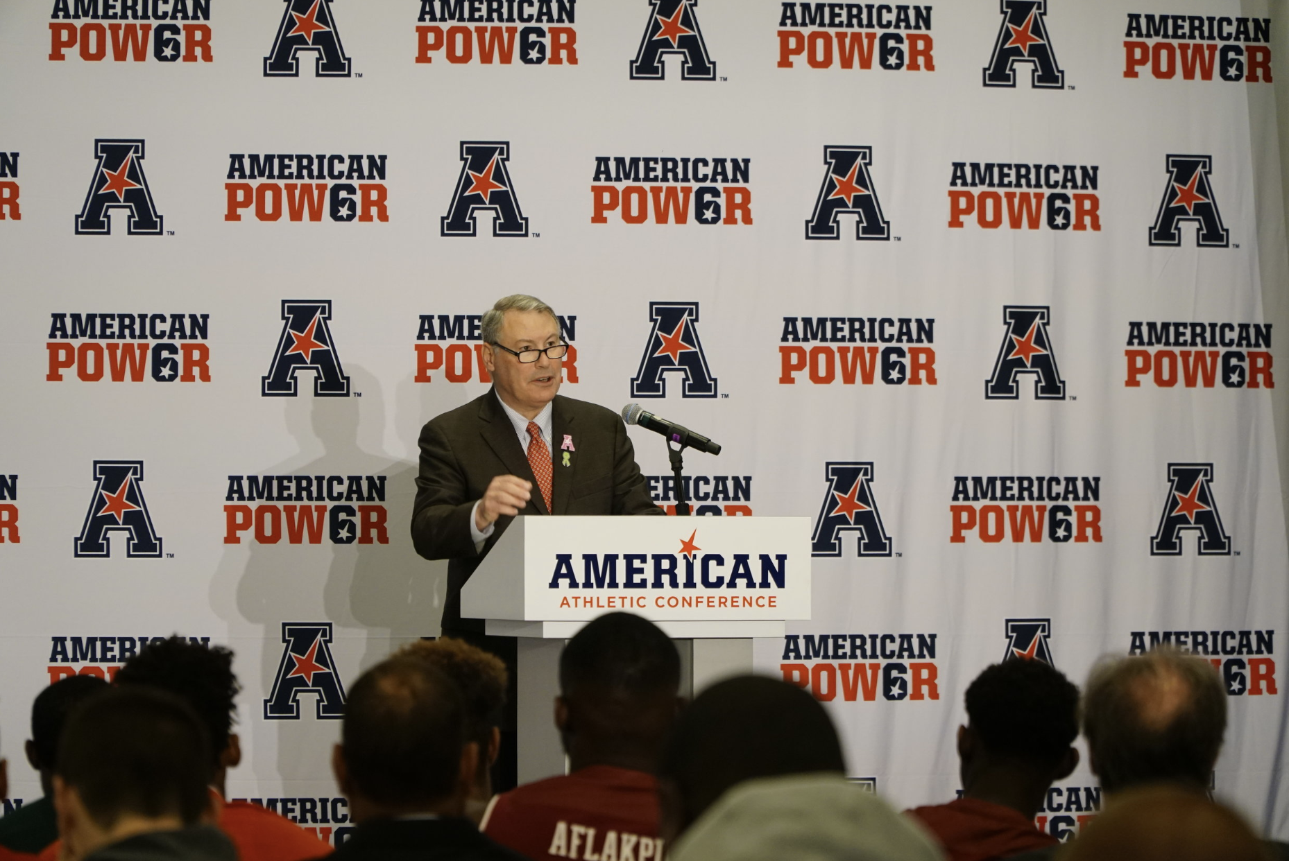 Mike Aresco, commissioner of the American Athletic Conference, addresses the crowd. (Eric Wang/The Daily Campus)