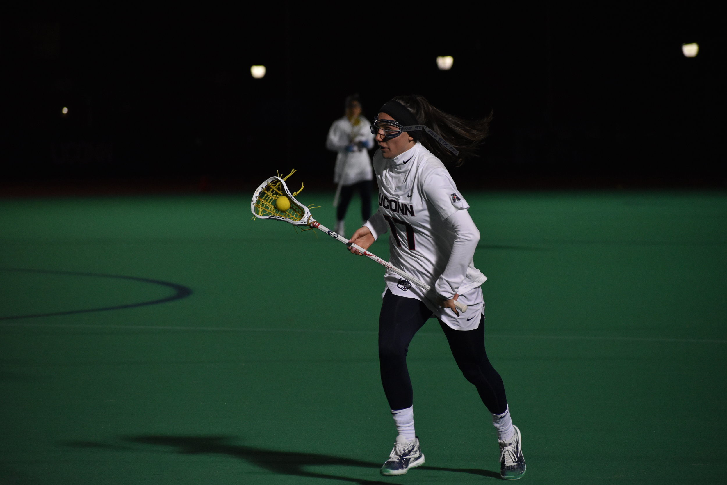 The UConn Women's Lacrosse beat Bryant University 15 - 8 Tuesday night in the Sherman Family Sports Complex. The Huskies were able to quickly capitalize on Bryant's mistakes and effectively generate opportunities; UConn consequently controlled the game. (Photo by Kevin Lindstrom/The Daily Campus)