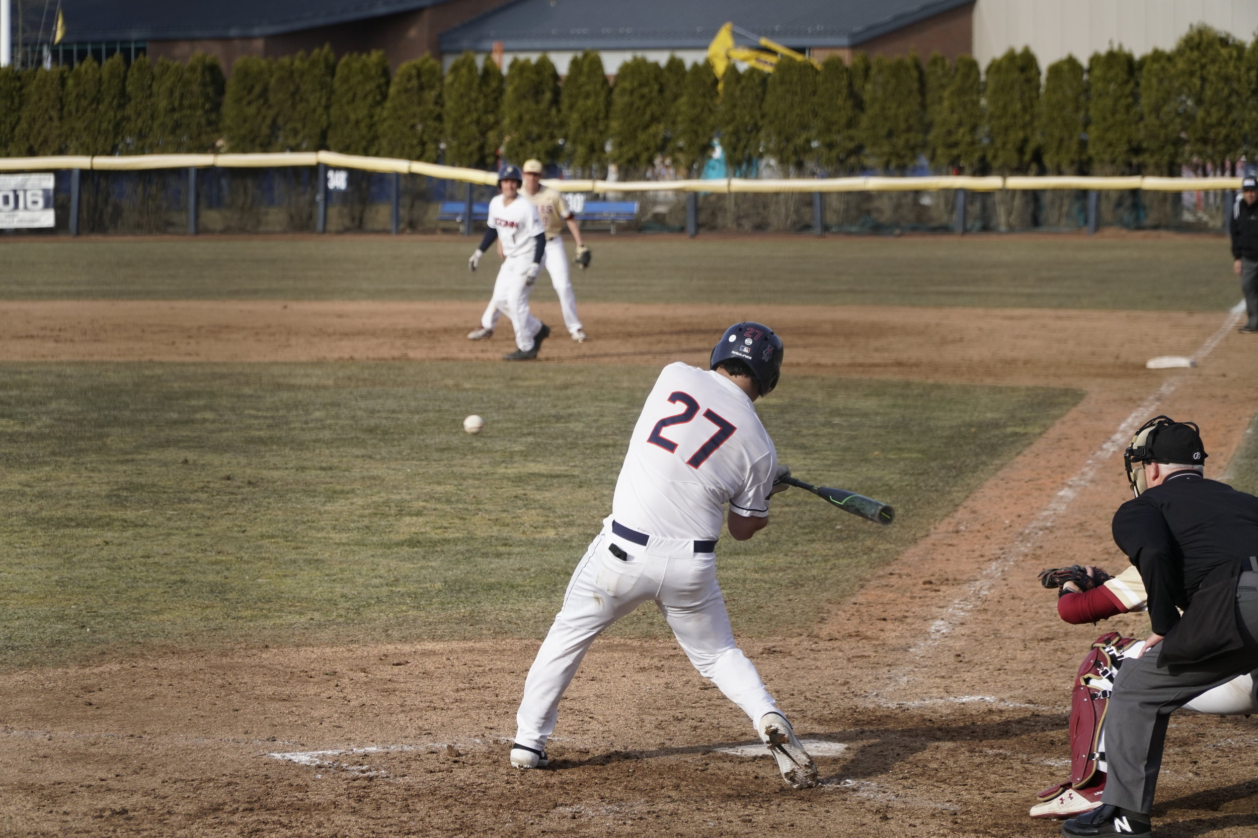 The Huskies won 3-1 to the Boston College Eagles on Wednesday. Their next home game is on 4/2, playing against Fairfield University at the J.O. Christian Field.me game is on 4/2, playing against Fairfield University at the J.O. Christian Field. (Photo by Eric Wang/The Daily Campus)