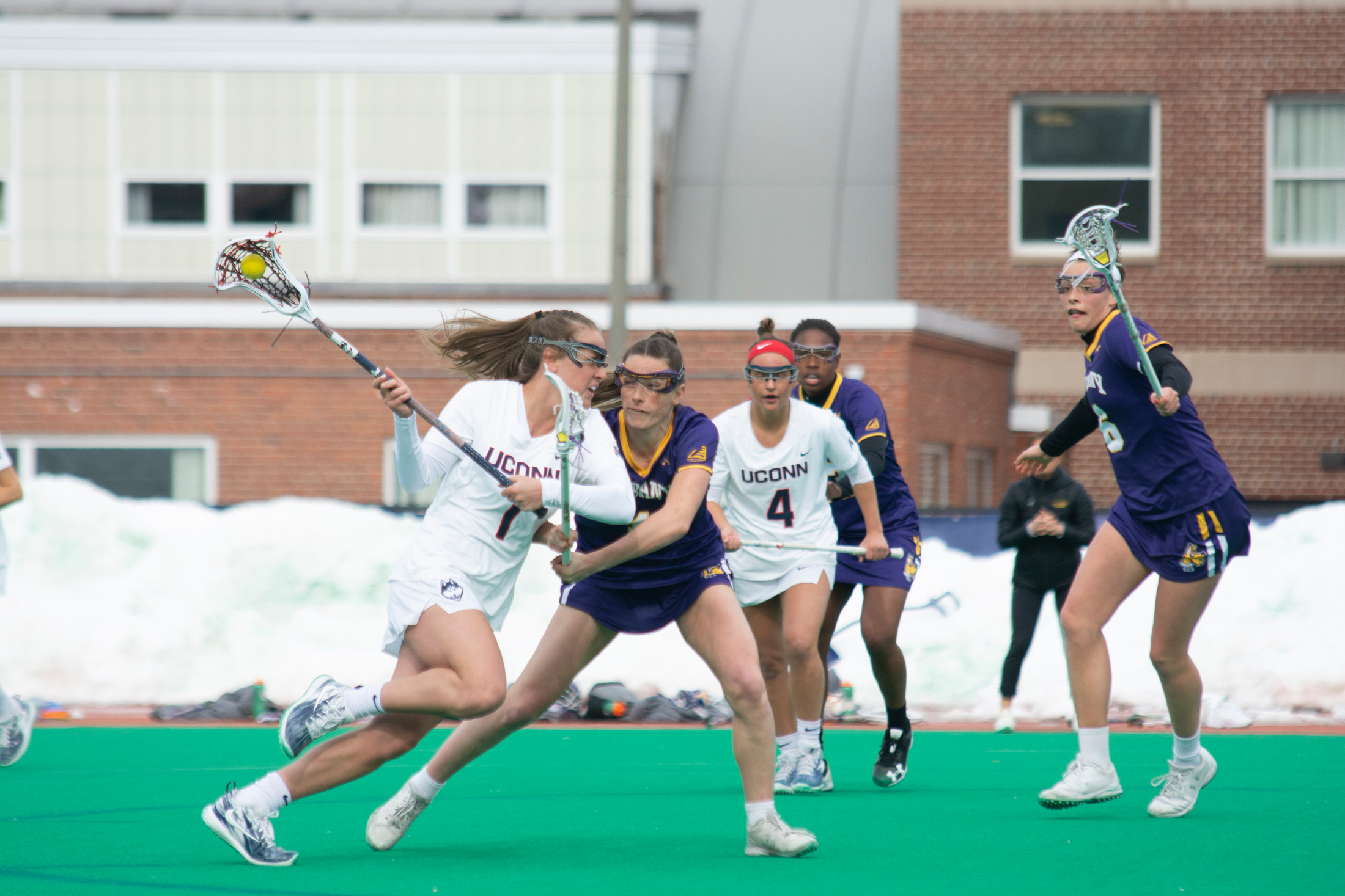 Junior Olivia Miles attacks with the ball earlier this year (Nicholas Hampton/The Daily Campus)