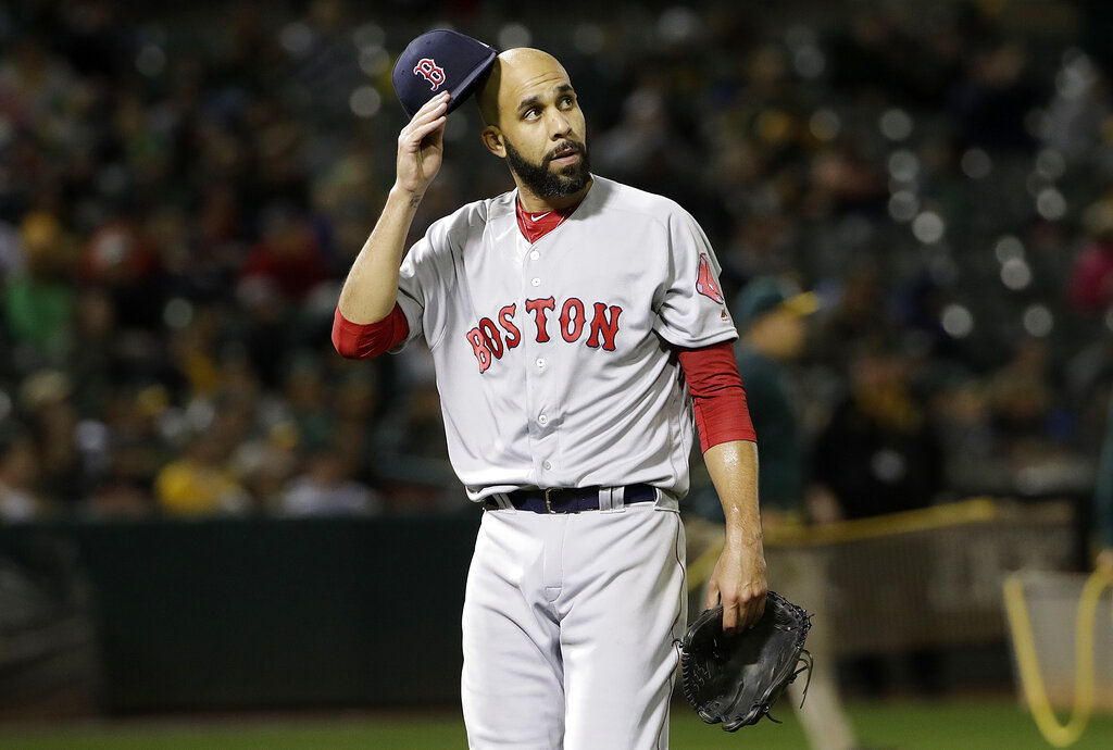 Boston Red Sox pitcher David Price walks off the mound after the sixth inning of a baseball game against the Oakland Athletics in Oakland, Calif., Monday, April 1, 2019. (AP Photo/Jeff Chiu)