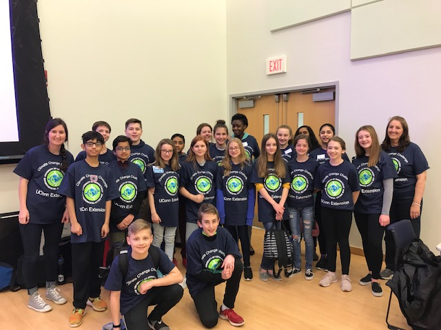 Ellington Middle School students wear their CT Environmental Action Day T-shirts. (Photo courtesy of Heidi Bailey)