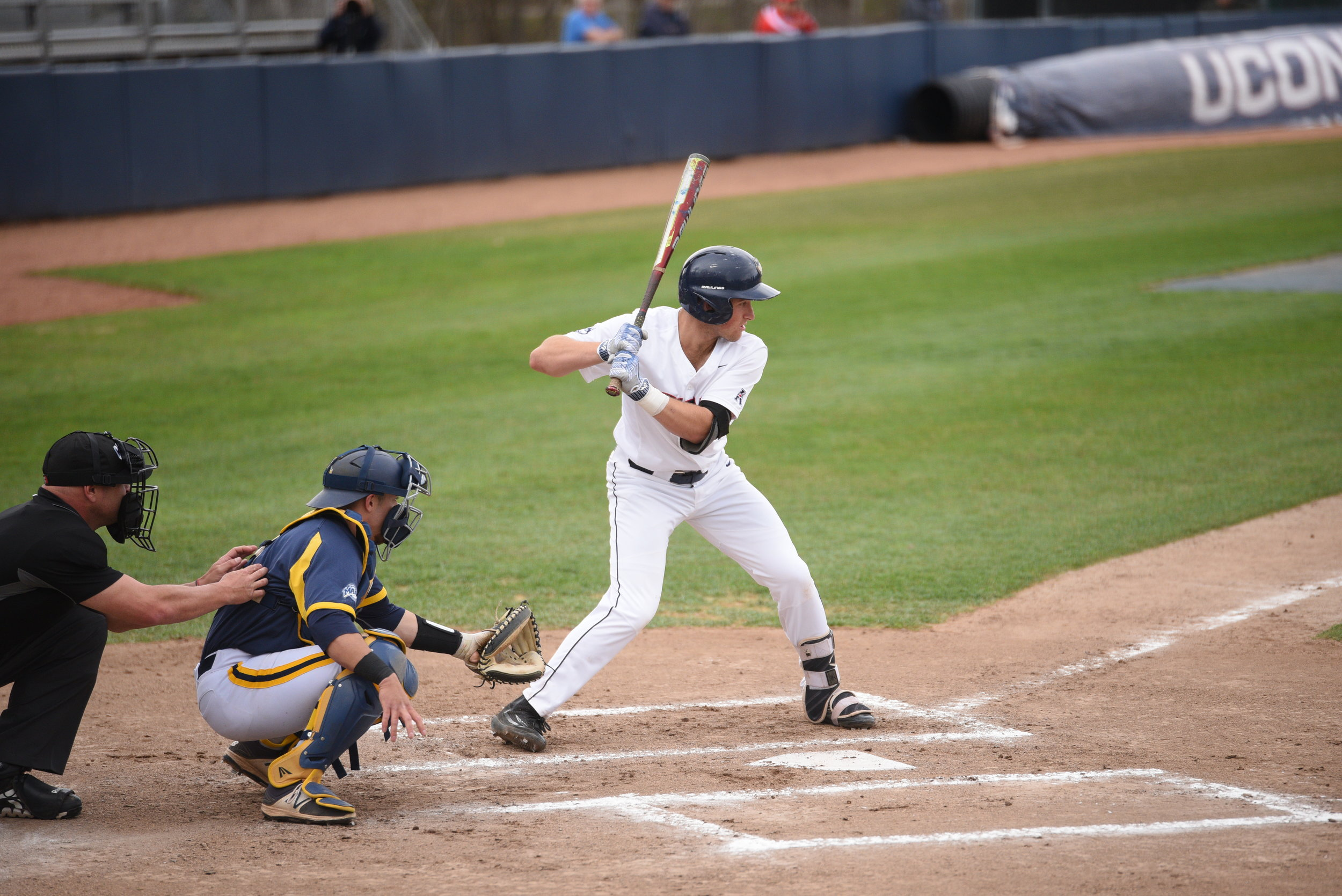The right fielder from Fayetteville, N.Y. saw his batting average skyrocket 157 points after multiple hits in each game against the Bearcats. (File/The Daily Campus)