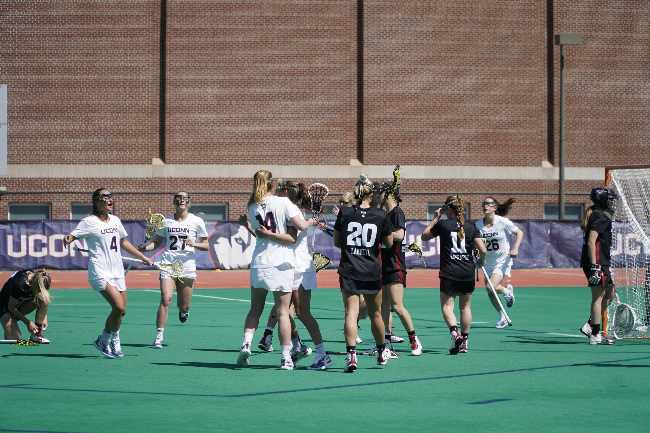 The Huskies took a tough loss against Temple on Saturday with a final score 13-17. They look to bounce back in their next home game on 4/20 against University of Florida. (Photo by Eric Wang/The Daily Campus)