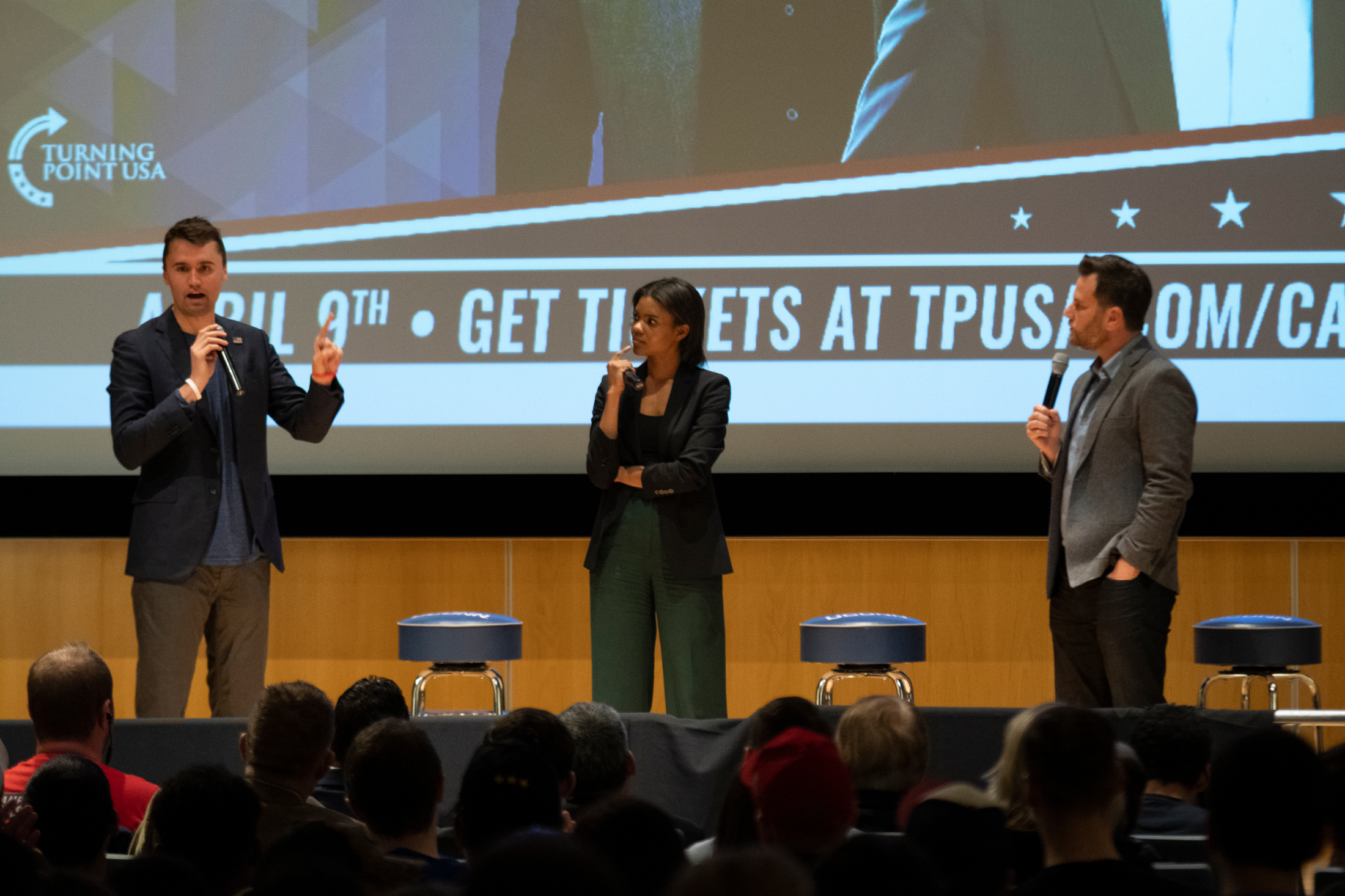 Conservative speakers Dave Rubin, Charlie Kurk and Candace Owens spoke in the Student Union Theater Tuesday night as representatives of Turning Point USA (Nicholas Hampton/The Daily Campus)