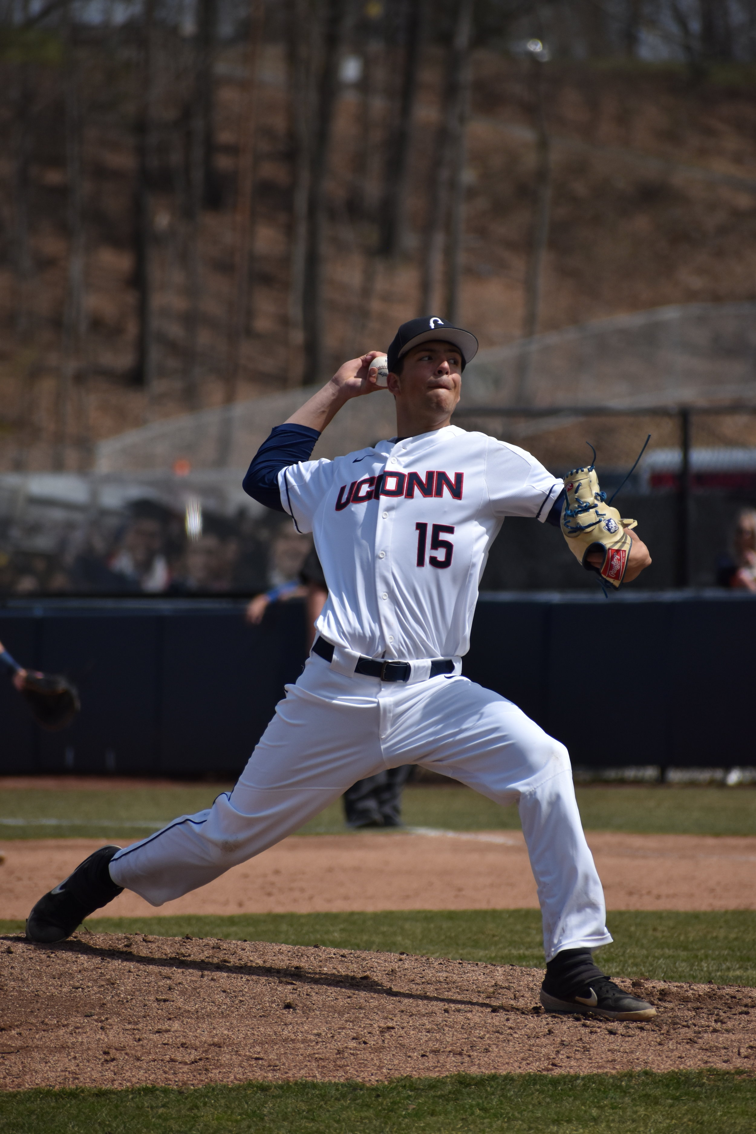 Karl Johnson throws a pitch in UConn's weekend series. (Kevin Lindstrom/The Daily Campus)